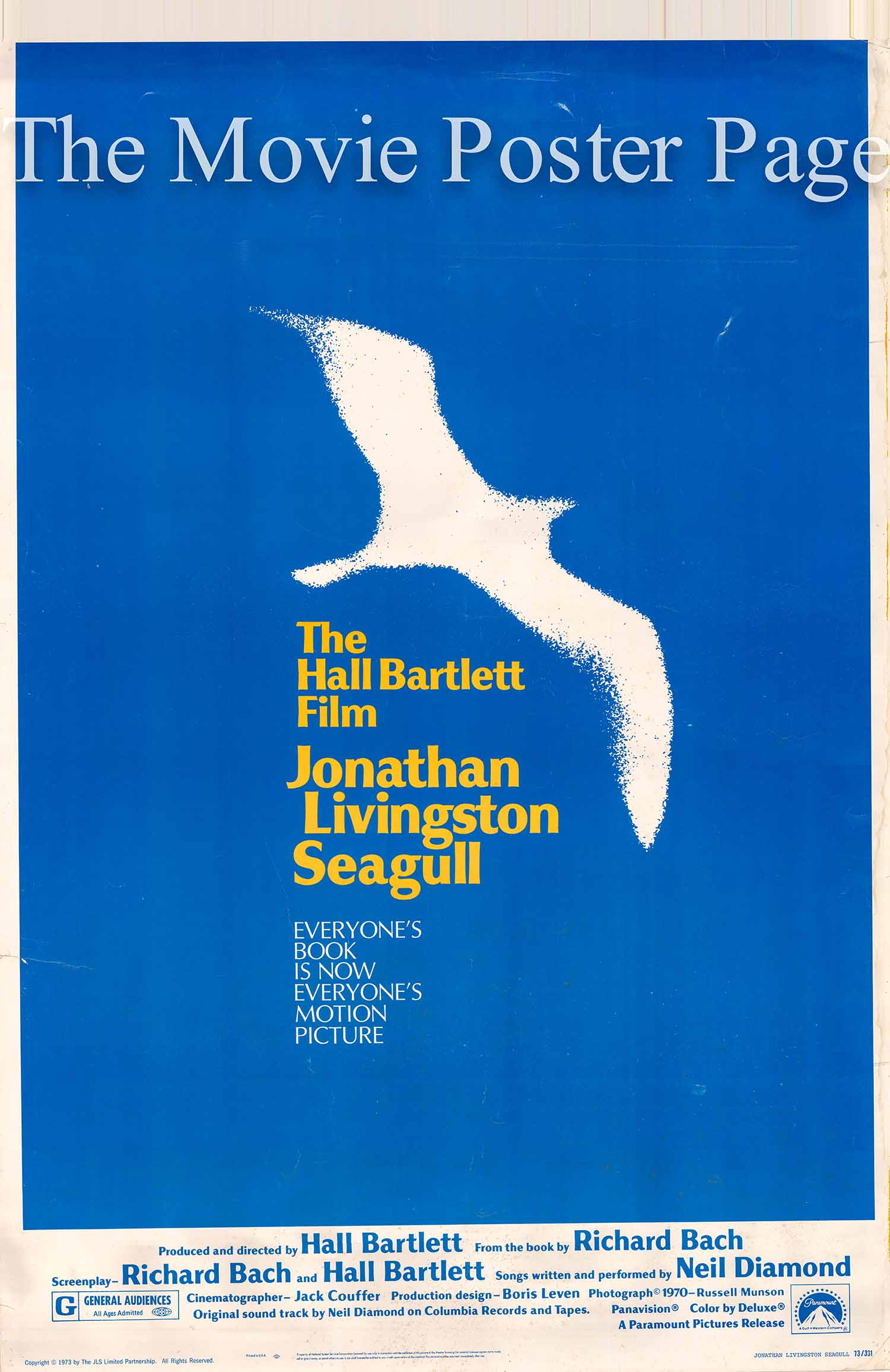 Pictured is a US 40x60 promotional poster for the 1973 Hall Bartlett film Jonathan Livingston Seagull starring James Franciscus as the voice of the gull.
