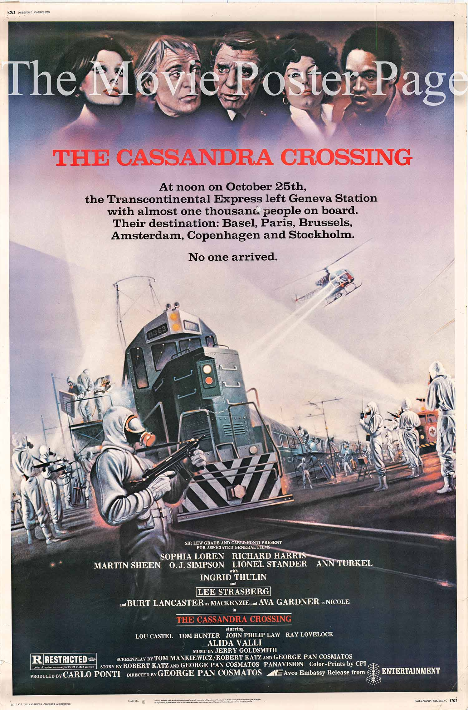 Pictured is a US 40x60 promotional poster for the 1976 George P. Cosmatos film The Cassandra Crossing starring Sophia Loren.