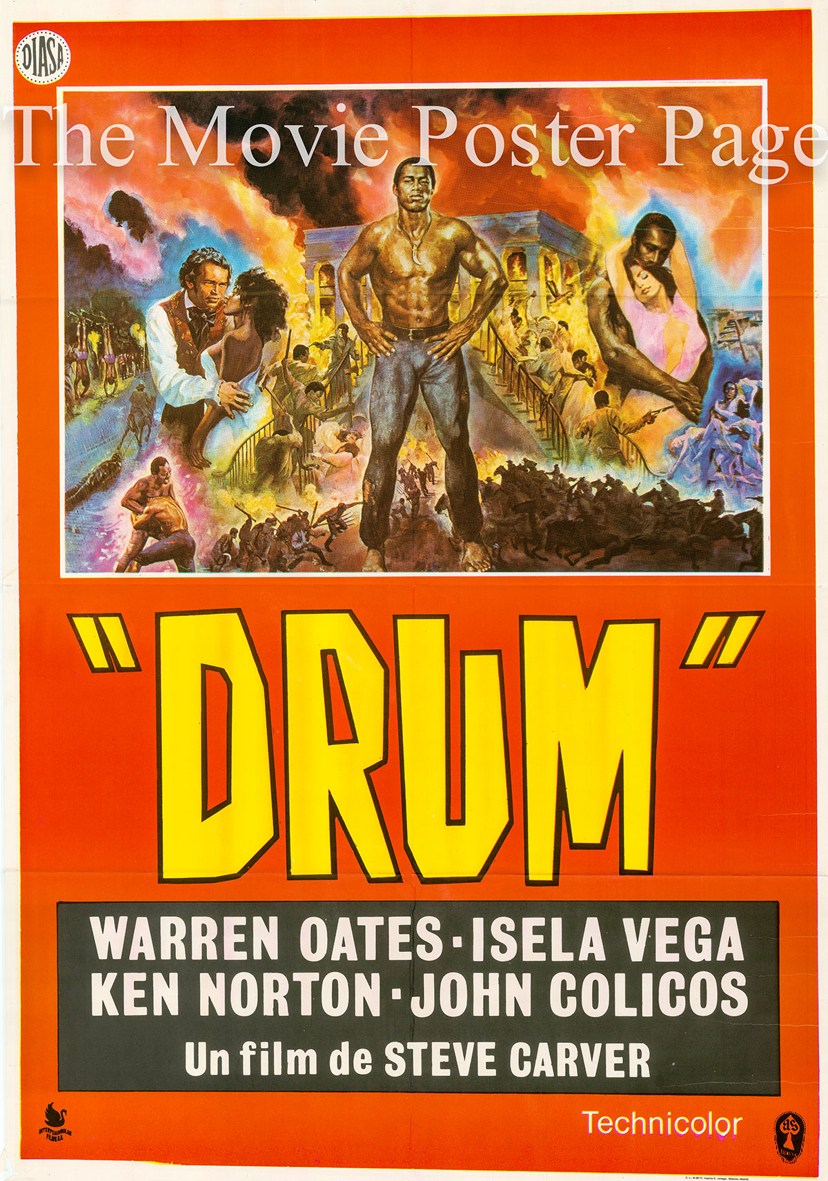 Pictured is a Spanish promotional poster for the 1976 Steve Carver film Drum starring Warren Oates.