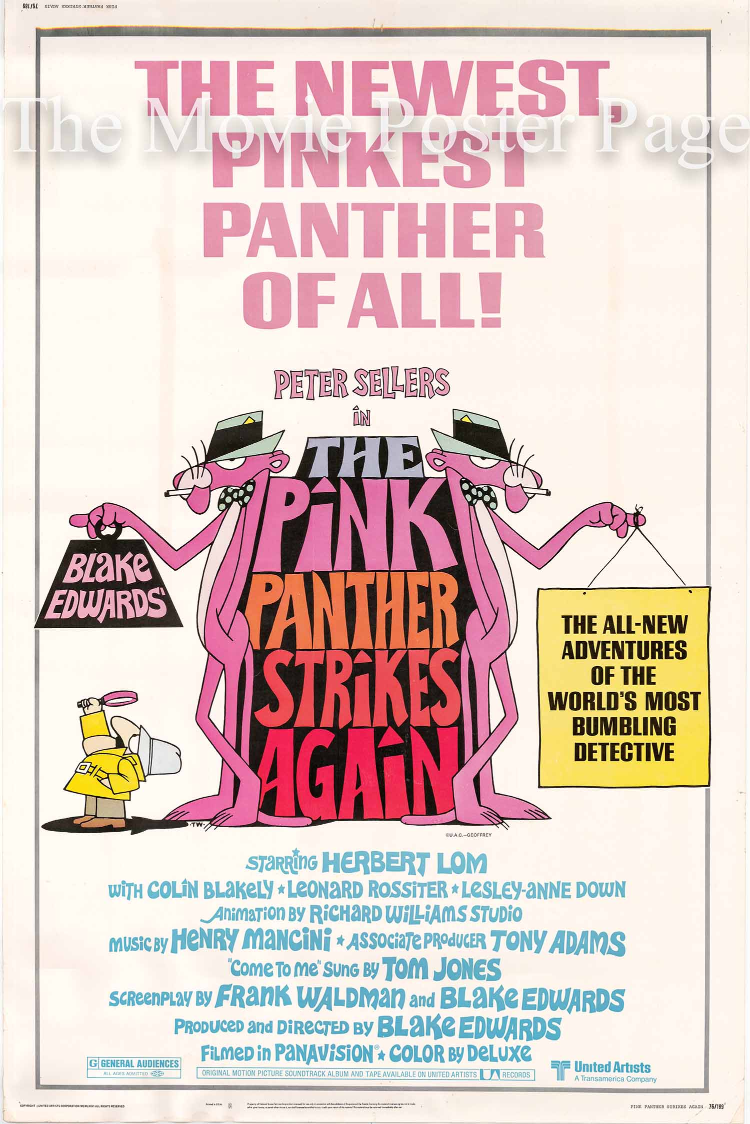 Pictured is a US 40x60 promotional poster for the 1976 Blake Edwards film The Pink Panther Strikes Again starring Peter Sellers.