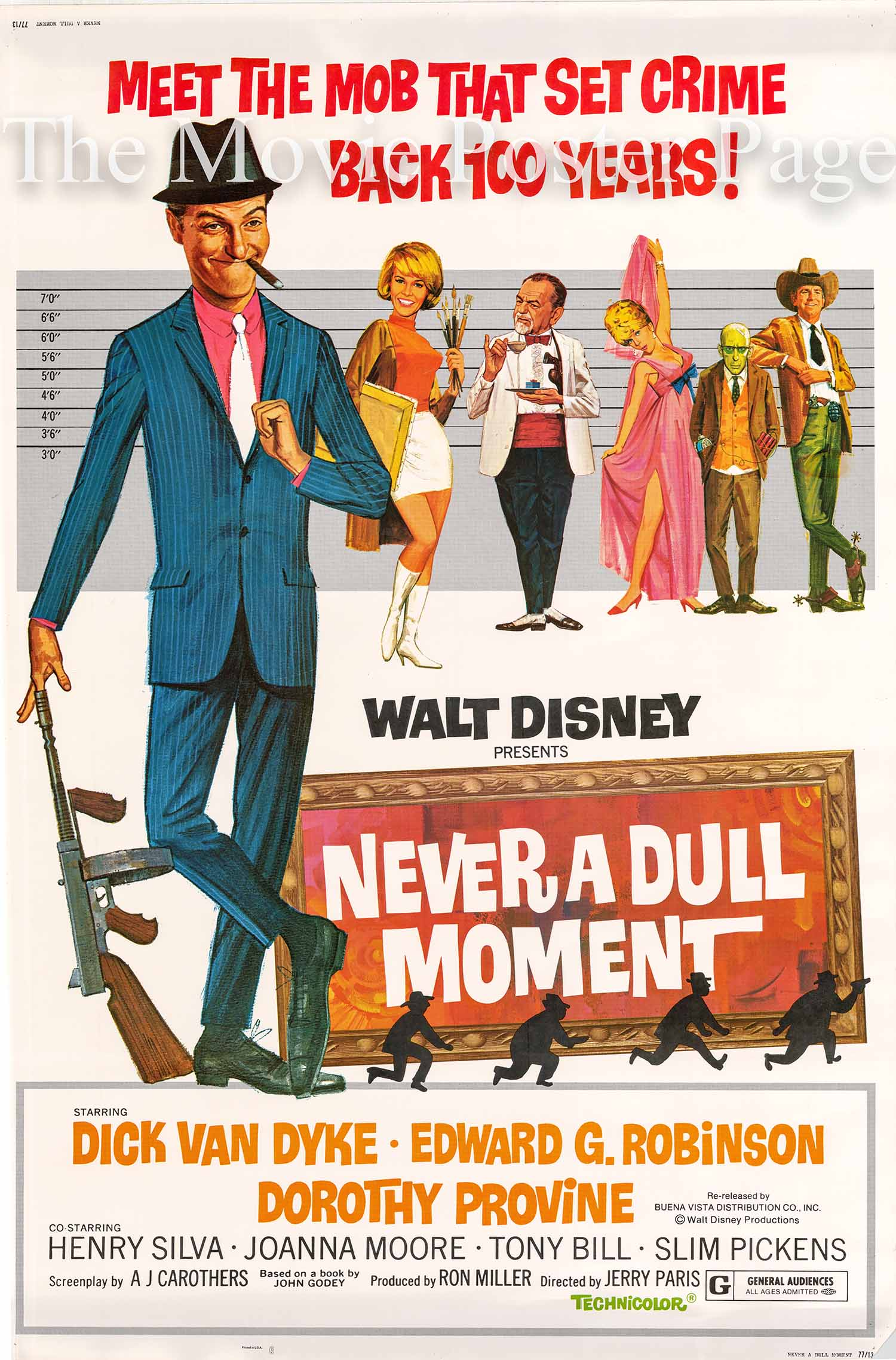 Pictured is a US 40x60 promotional poster for a 1977 rereleae of the 1968 Jerry Paris film Never a Dull Moment starring Dick Van Dyke.