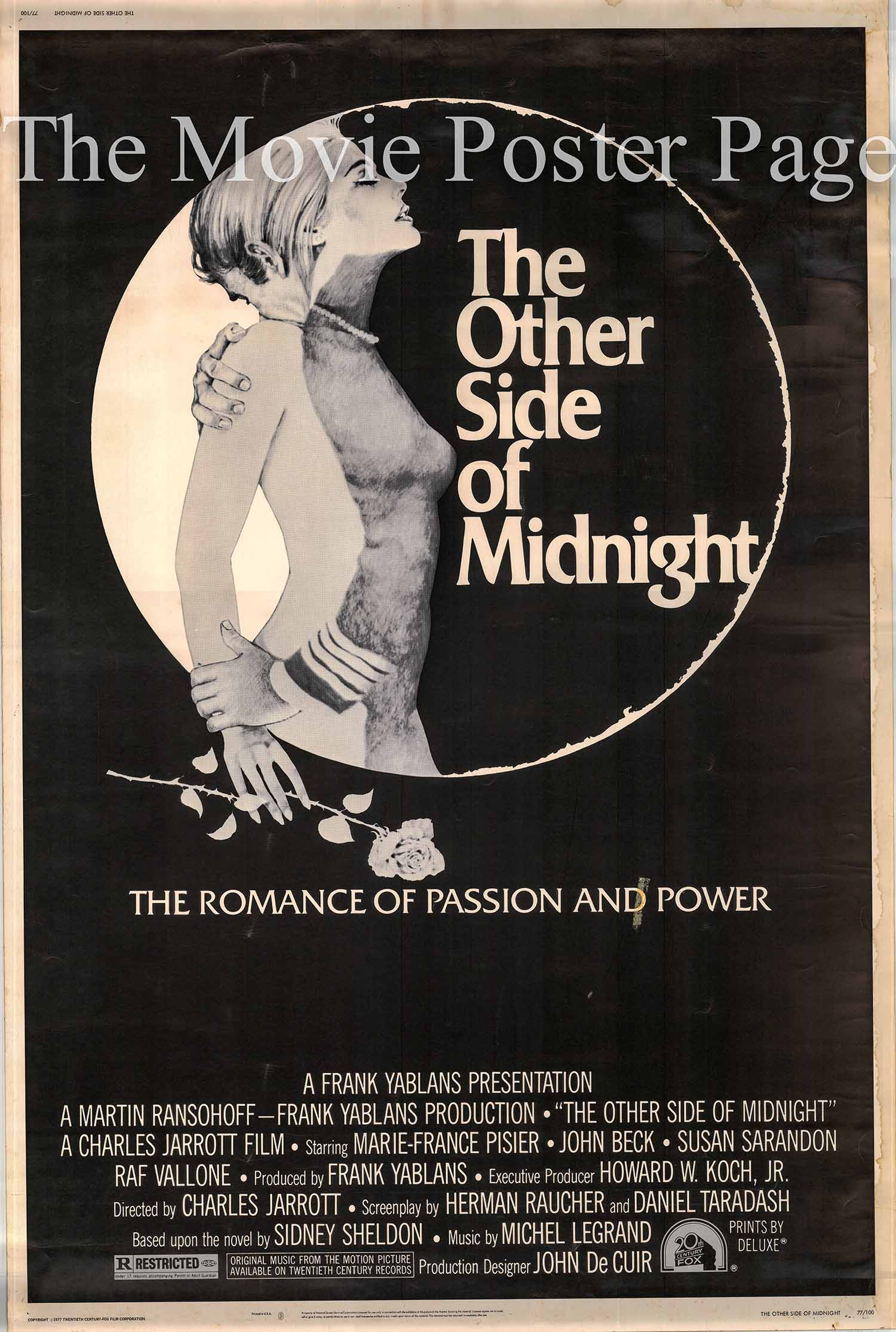 Pictured is a US 40x60 promotional poster for the 1977 Charles Jarrott film The Other Side of Midnight starring Marie-France Pisier.