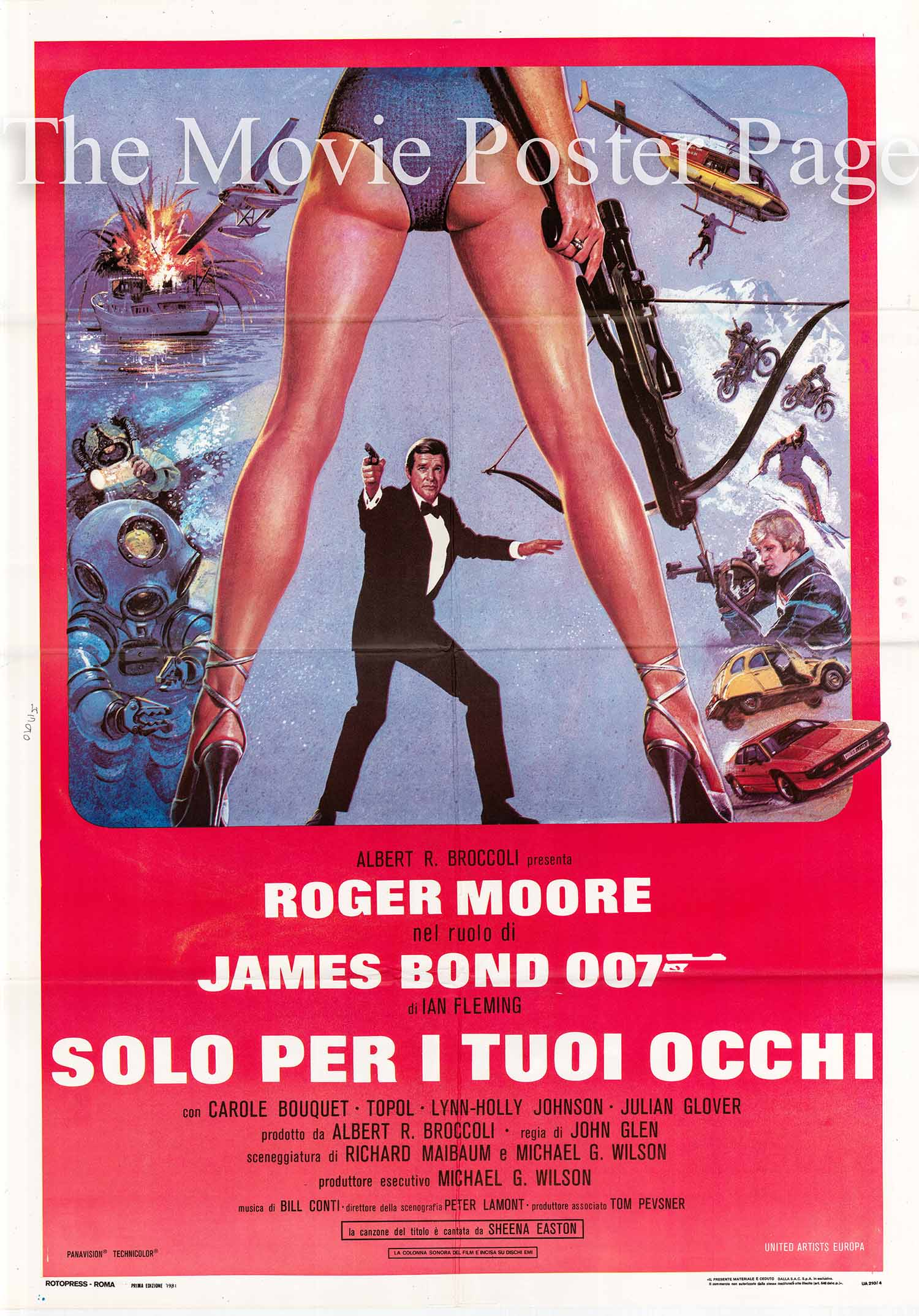 Pictured is an Italian two-sheet promotional poster for the 1981 John Glen film For Your Eyes Only starring Roger Moore as James Bond.