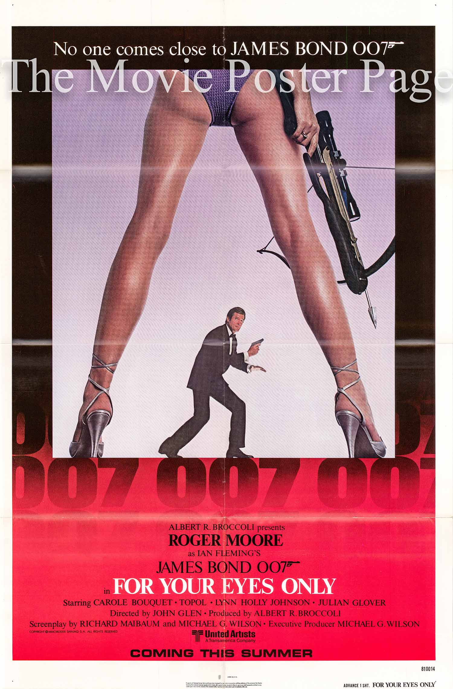 This is an image of the US promotional poster for the 1981 John Glen film For Your Eyes Only starring Roger Moore.