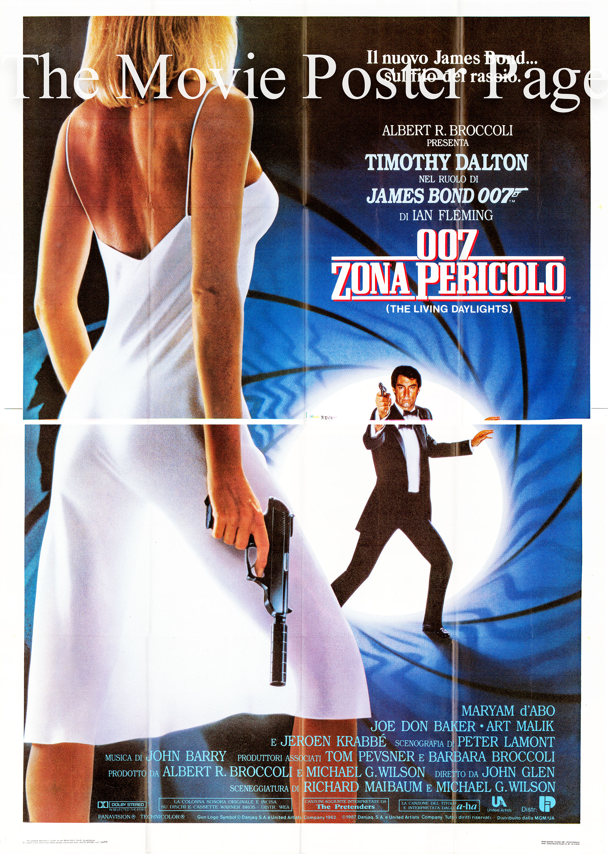 Pictured is an Italian four-sheet promotional poster for the 1987 John Glen film The Living Daylights starring Timothy Dalton as James Bond.