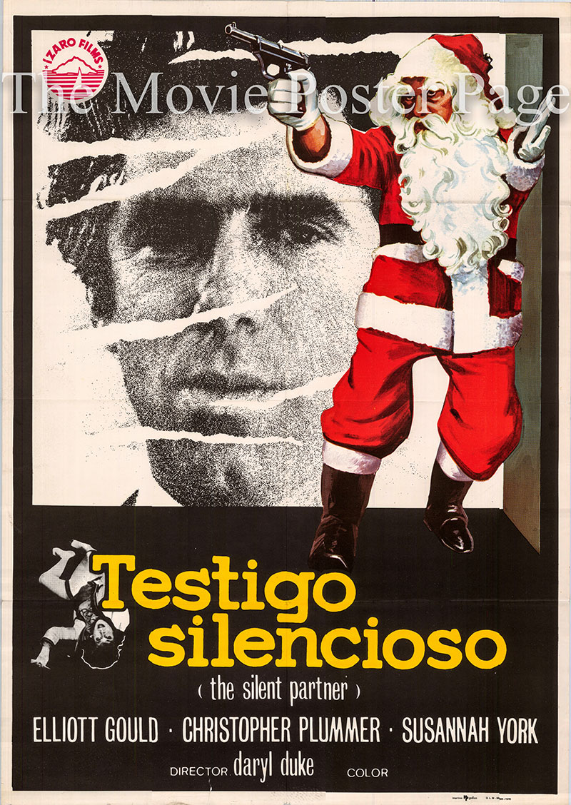 Pictured is a Spanish one-sheet poster for the 1978 Daryl Duke film Silent Partner starring Elliott Gould as Miles Cullen.