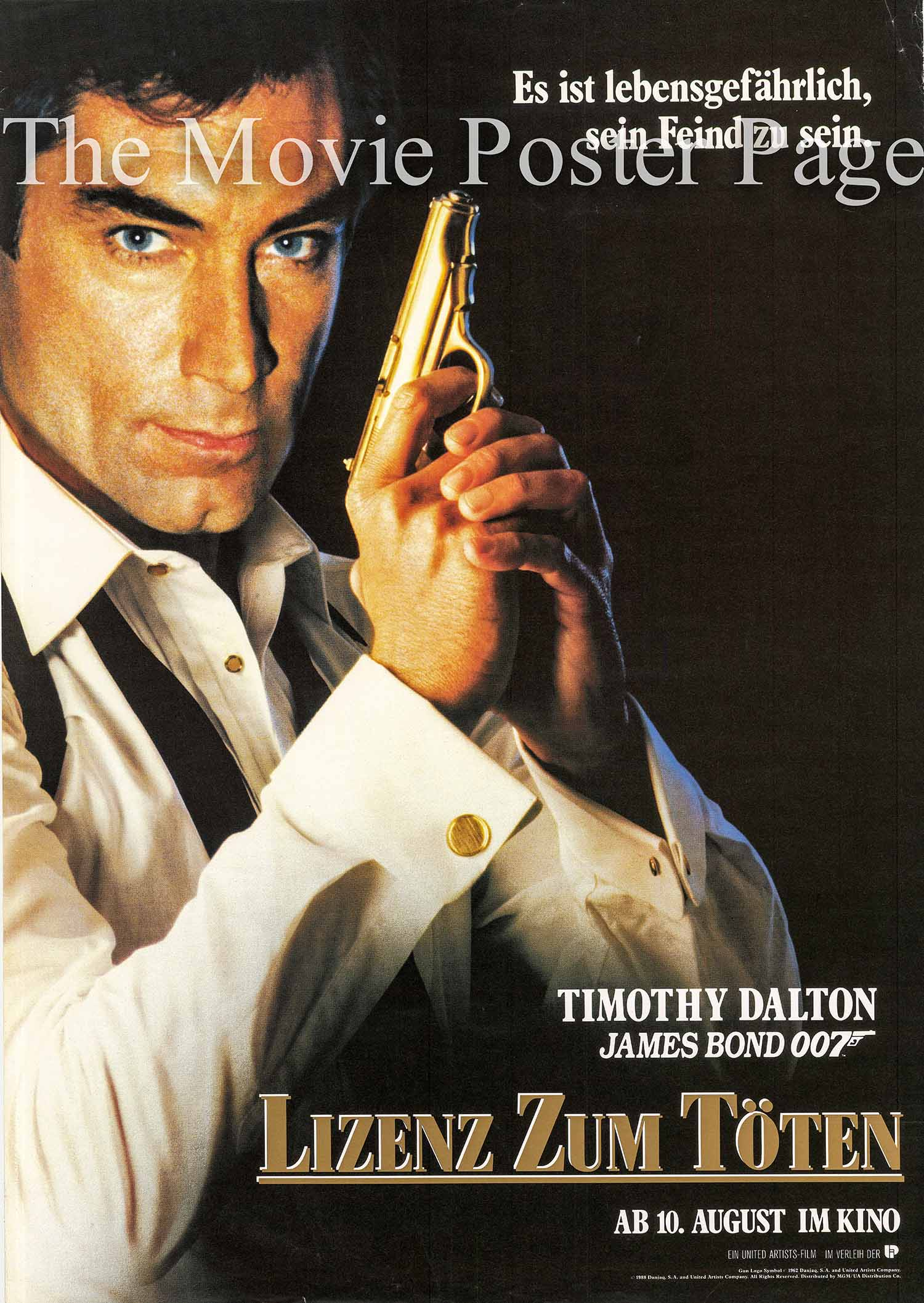 Pictured is a German one-sheet promotional poster for the 1989 John Glen James Bond film License to Kill, starring Timothy Dalton.