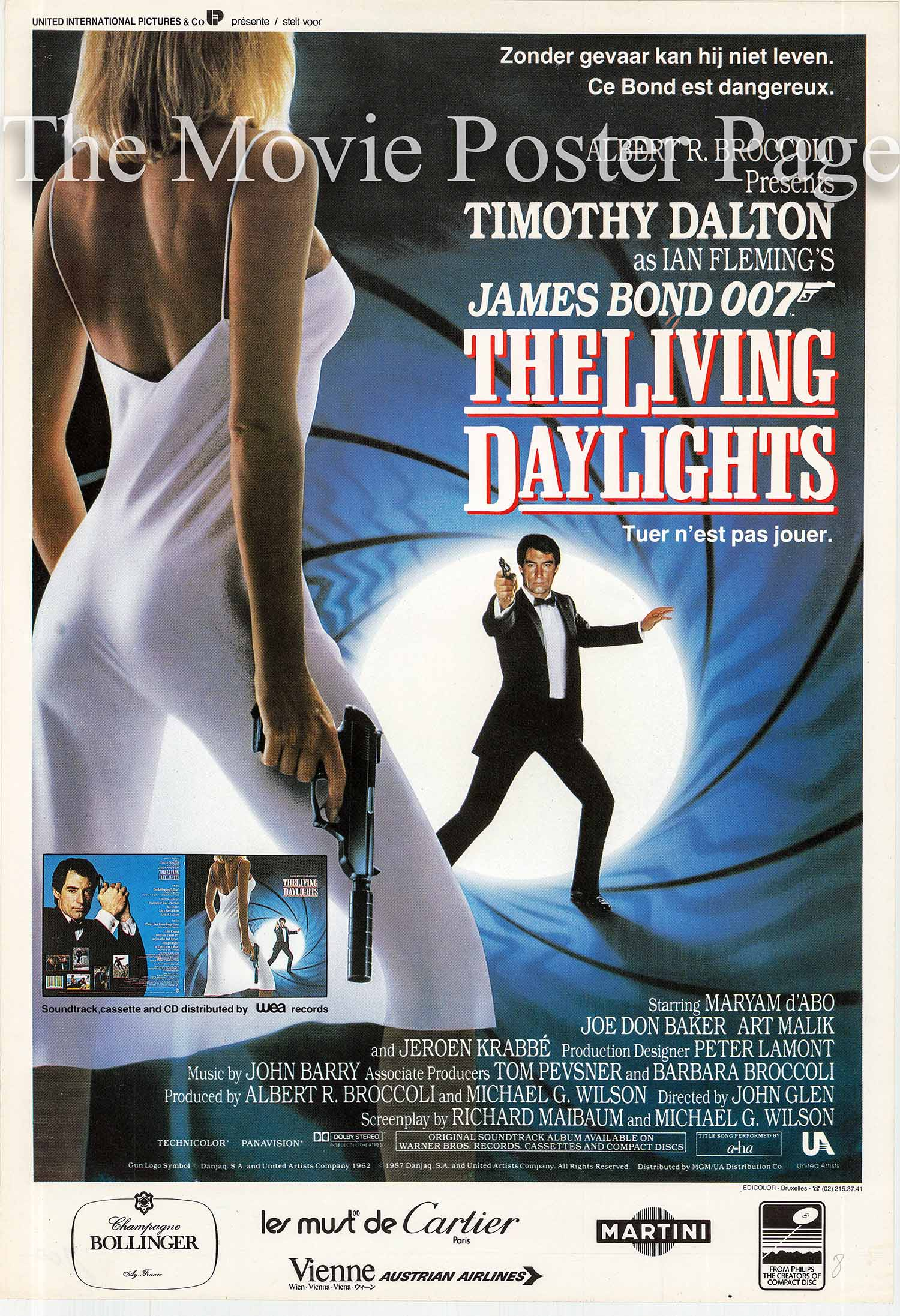Pictured is an Belgian poster promotional poster for the 1987 John Glen film The Living Daylights starring Timothy Dalton as James Bond.
