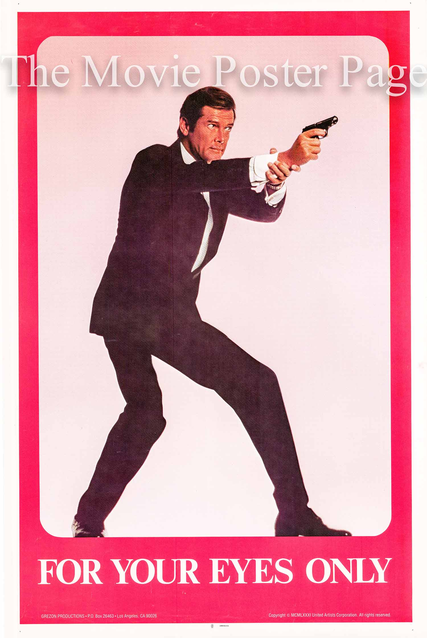 This is an image of a Grezon Productions commercial poster for the 1981 John Glen film For Your Eyes Only starring Roger Moore.