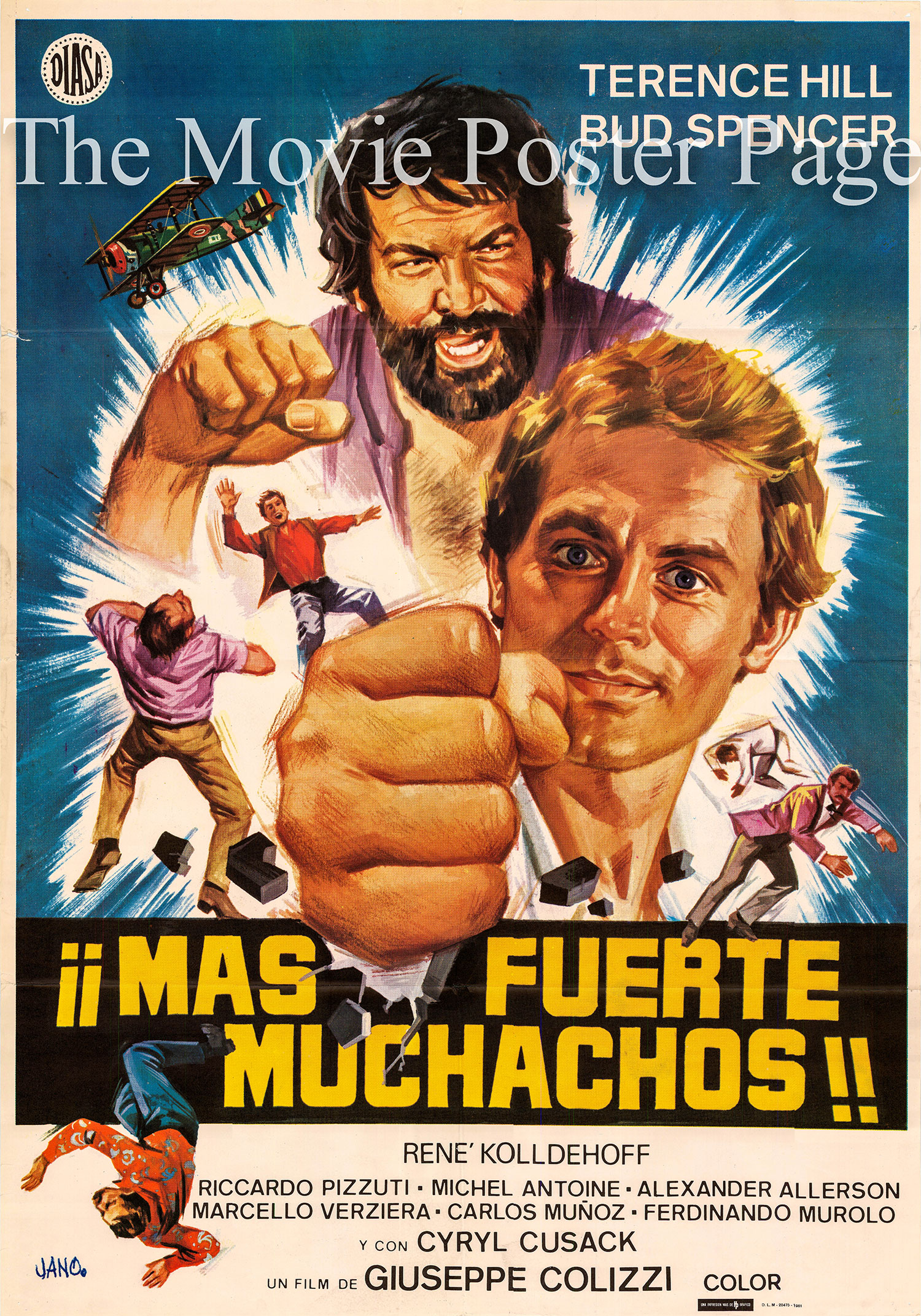 Pictured is a Spanish promotional poster for the 1973 Giuseppe Colizzi film All the Way Boys starring Terence Hill.