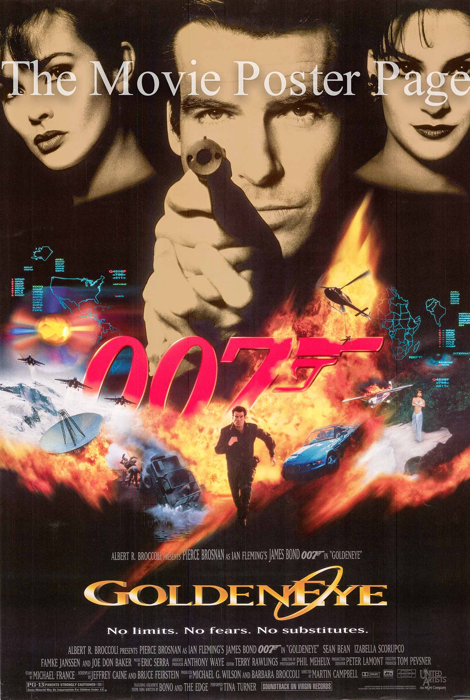 Pictured is a US advance promotional poster for the 1995 Martin Campbell film Goldeneye starring Pierce Brosnan as James Bond.