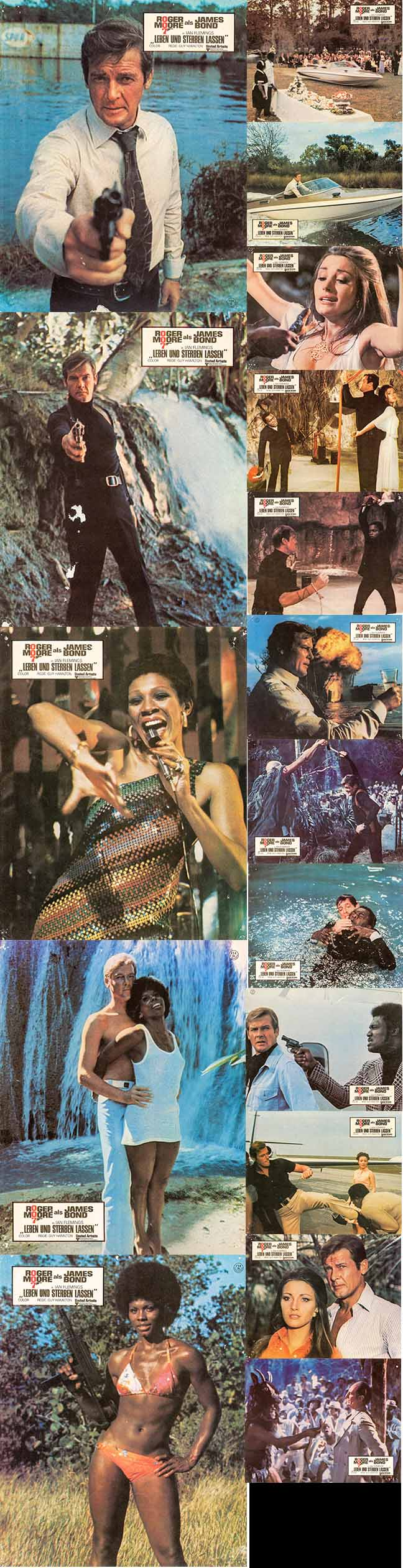 Pictured are 17 German 8x12 lobby cards made to promote the 1973 Guy Hamilton film Live and Let Die starring Roger Moore as James Bond.