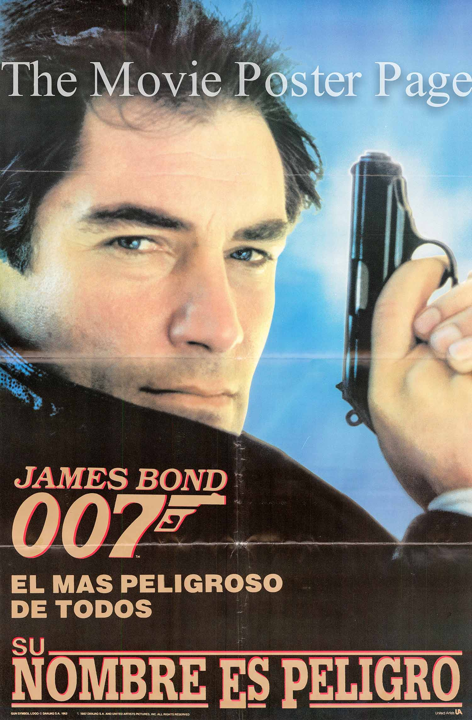 Pictured is a Spanish advance promotional poster for the 1987 John Glen film The Living Daylights, starring Timothy Dalton as James Bond.