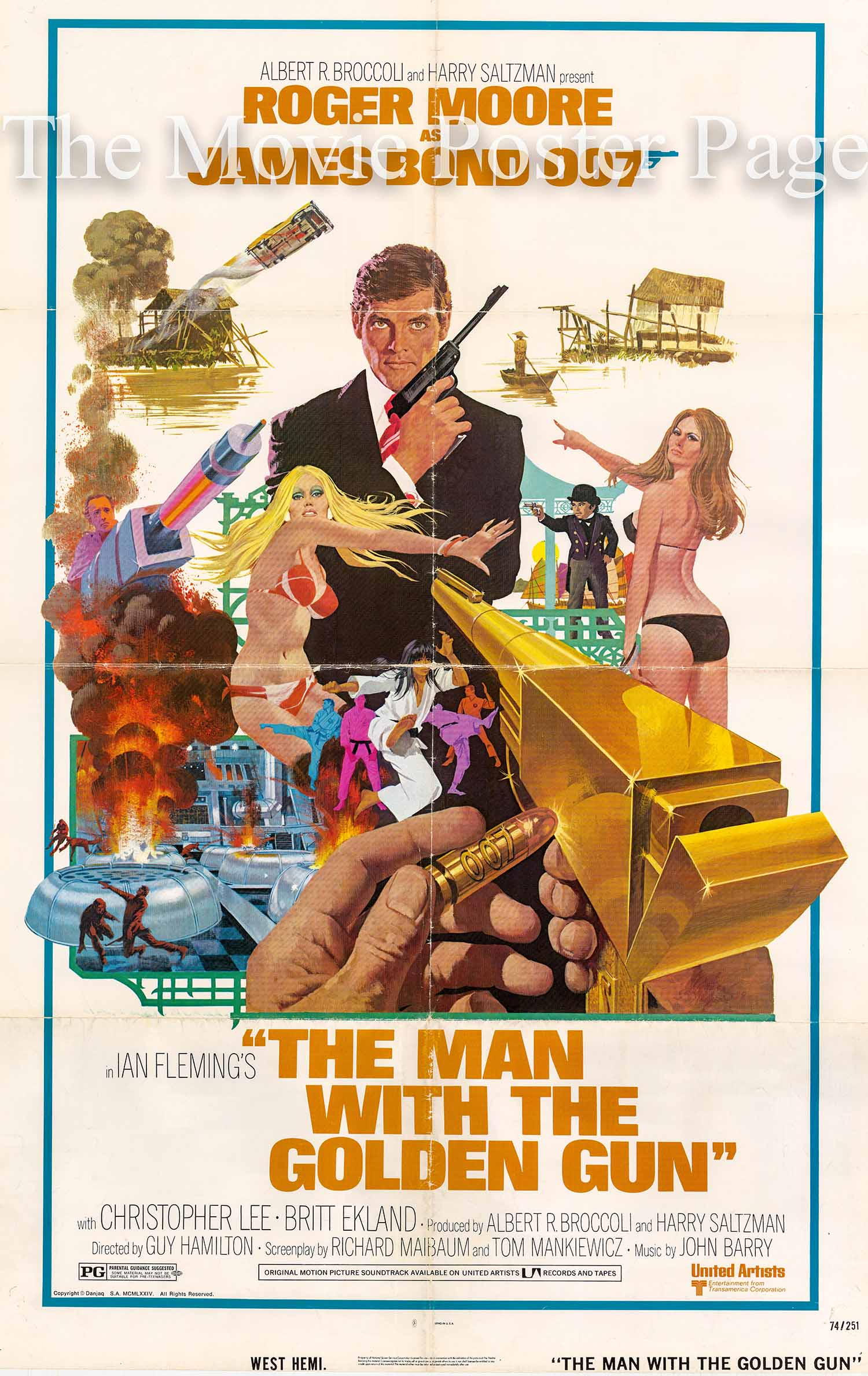 Pictured is a US promotional one-sheet poster for a 1980s rerelease of the 1974 Guy Hamilton film The Man with the Golden Gun starring Roger Moore.
