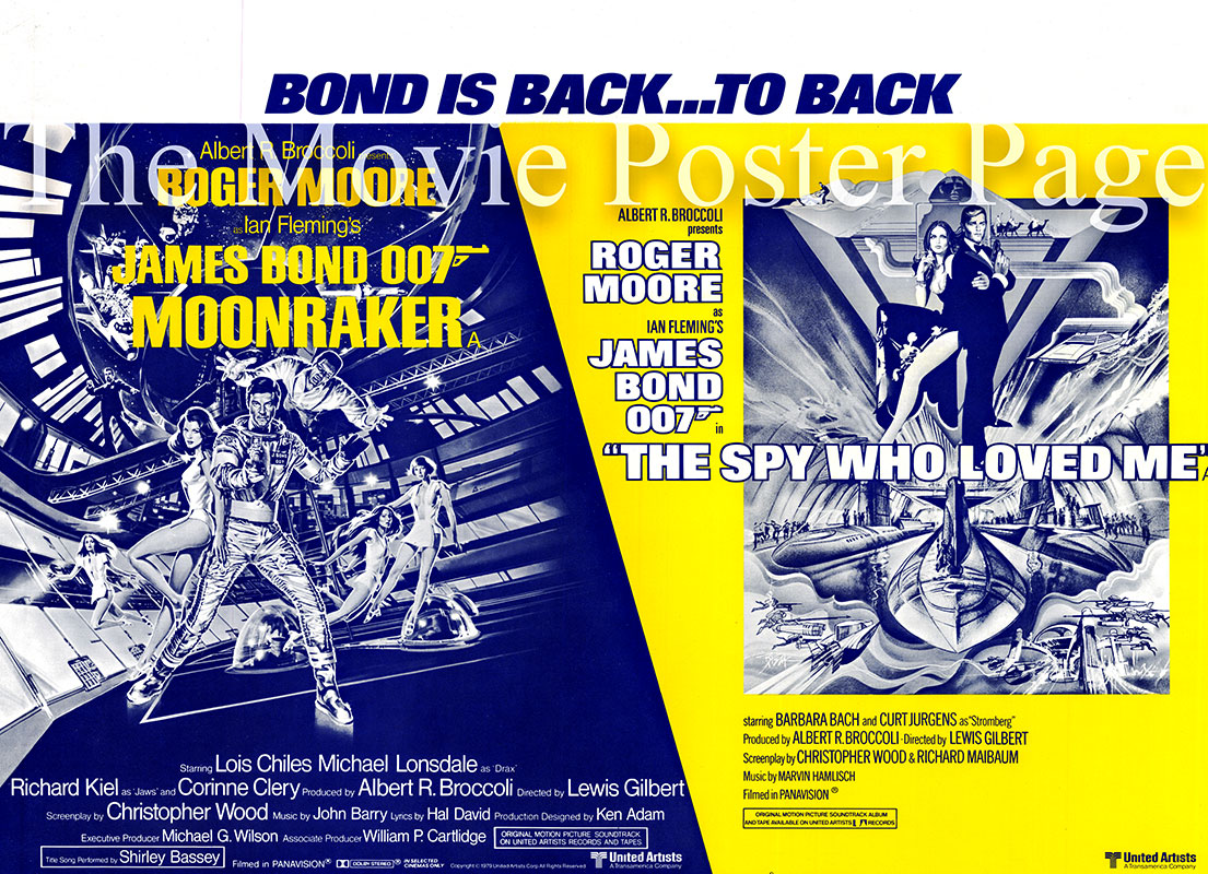 Pictured is a UK Quad promotional poster for a combination release of Moonraker and The Spy Who Loved Me, starring Roger Moore as James Bond.