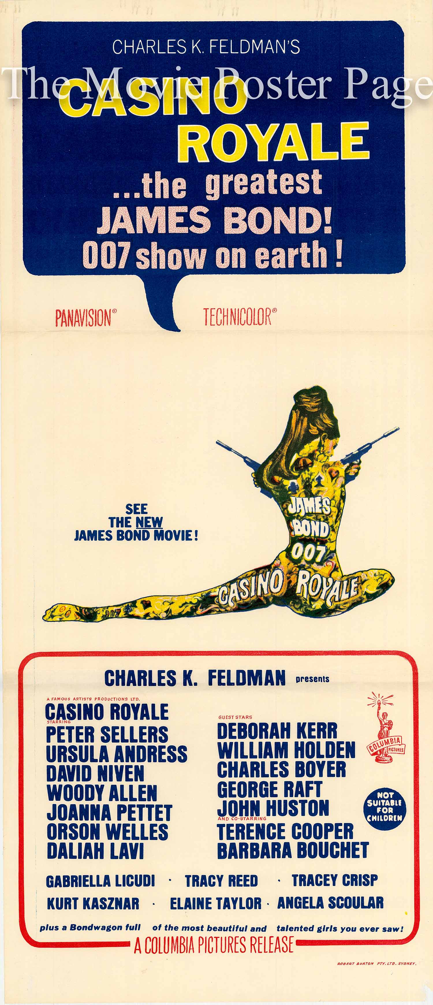 This is an image of an Australian daybill promotional poster for the 1967 Charles K. Feldman Film Casono Royale, starring Woody Allen and Peter Sellers.
