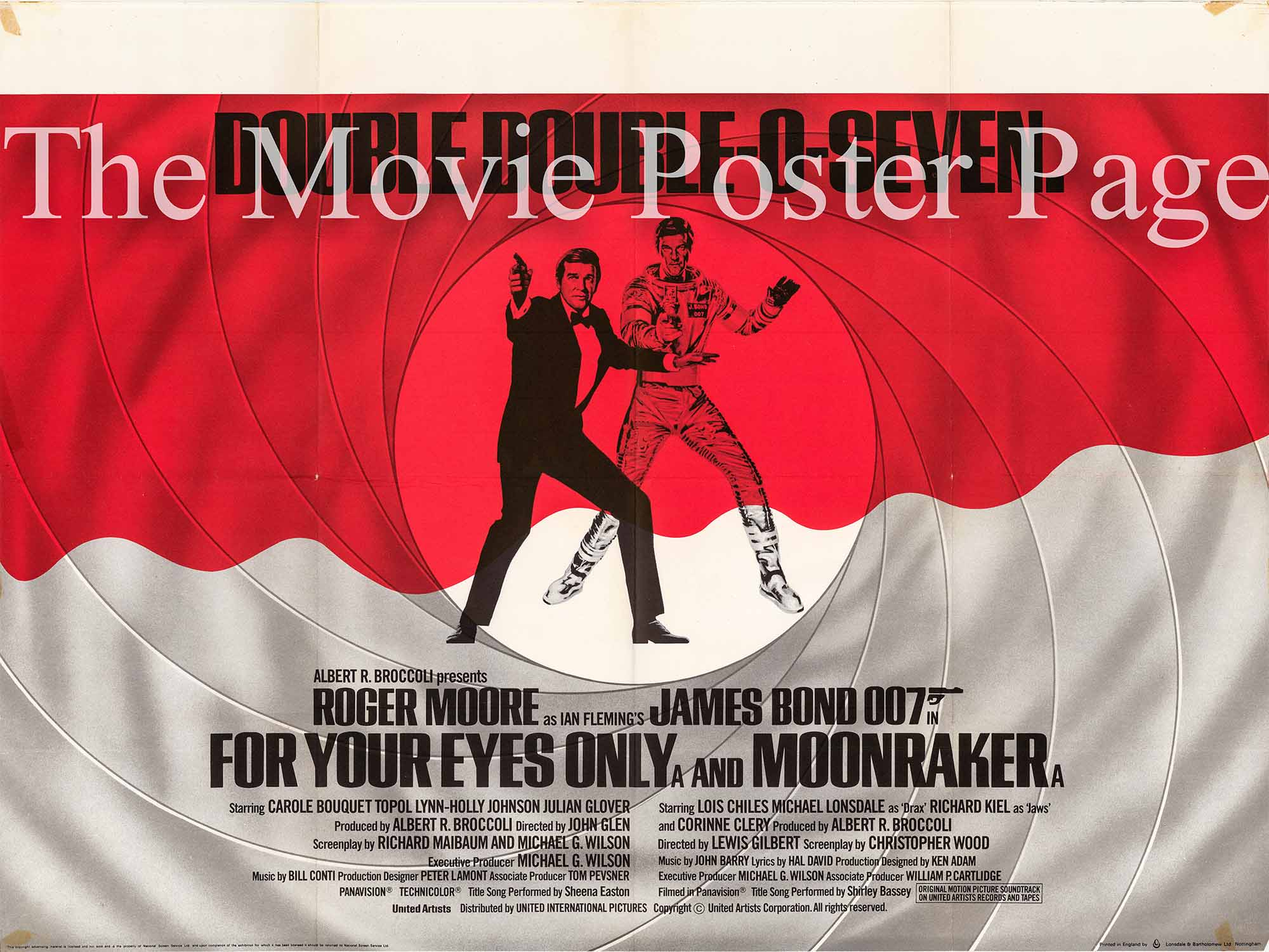 Pictured is a UK quad combo poster for the films Moonraker and For Your Eyes Only starring Roger Moore.