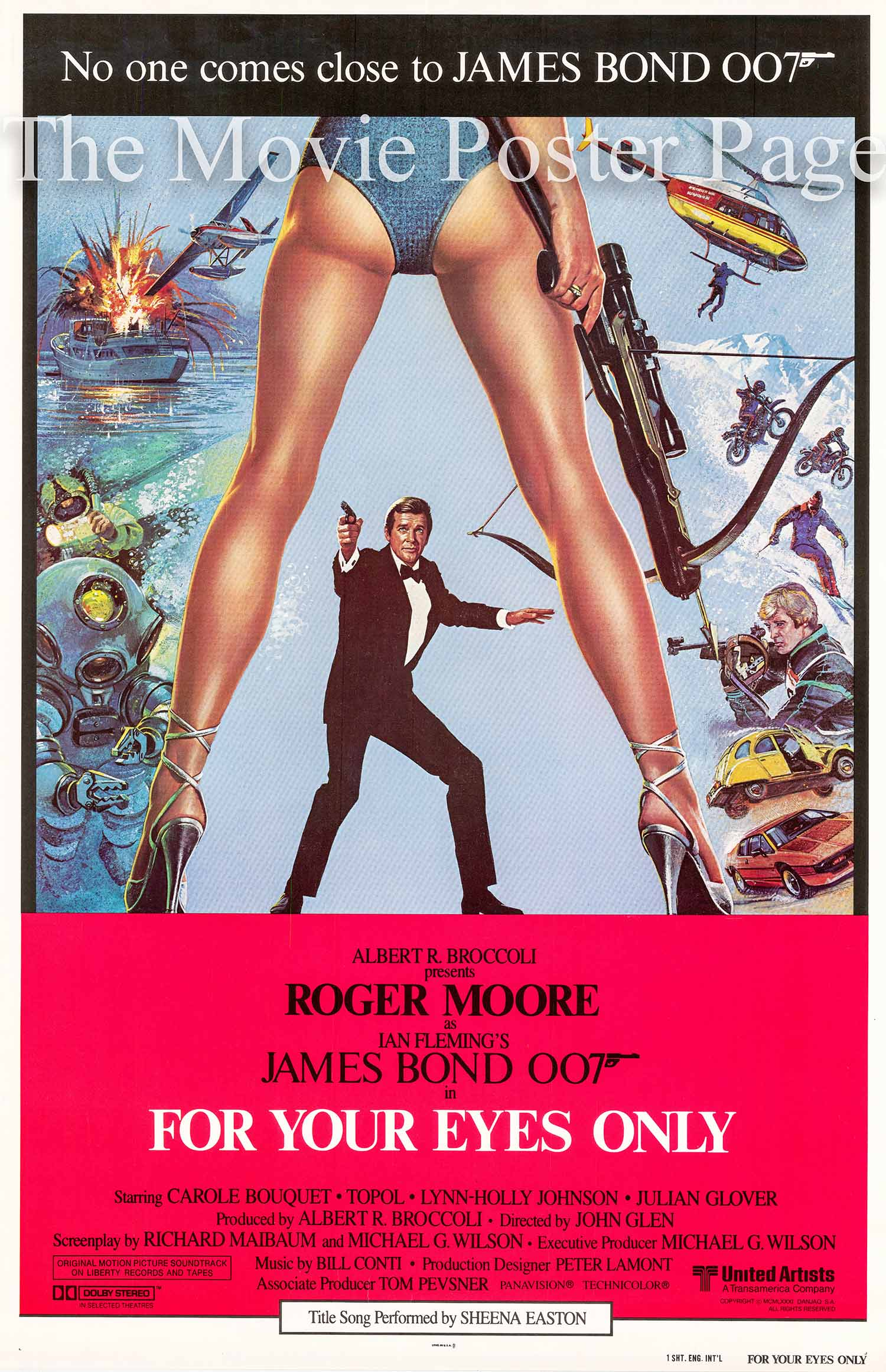 Pictured is an internaional promotional one-sheet poster for the 1981 John Glen film For Your Eyes Only starring Roger Moore as James Bond.