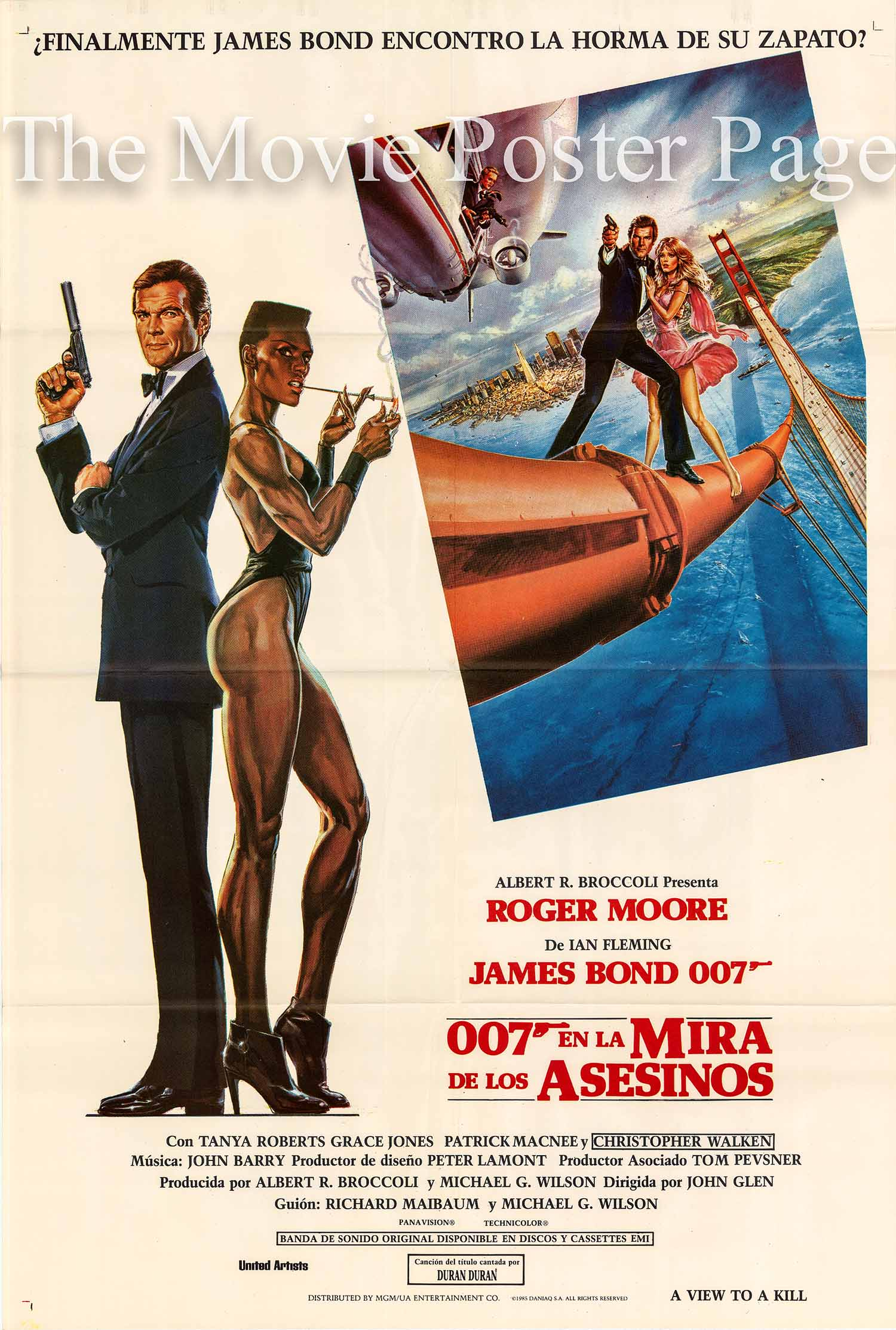 Pictured is an Argentine promotional poster made for the 1985 John Glen film A View to a Kill starring Roger Moore as James Bond.