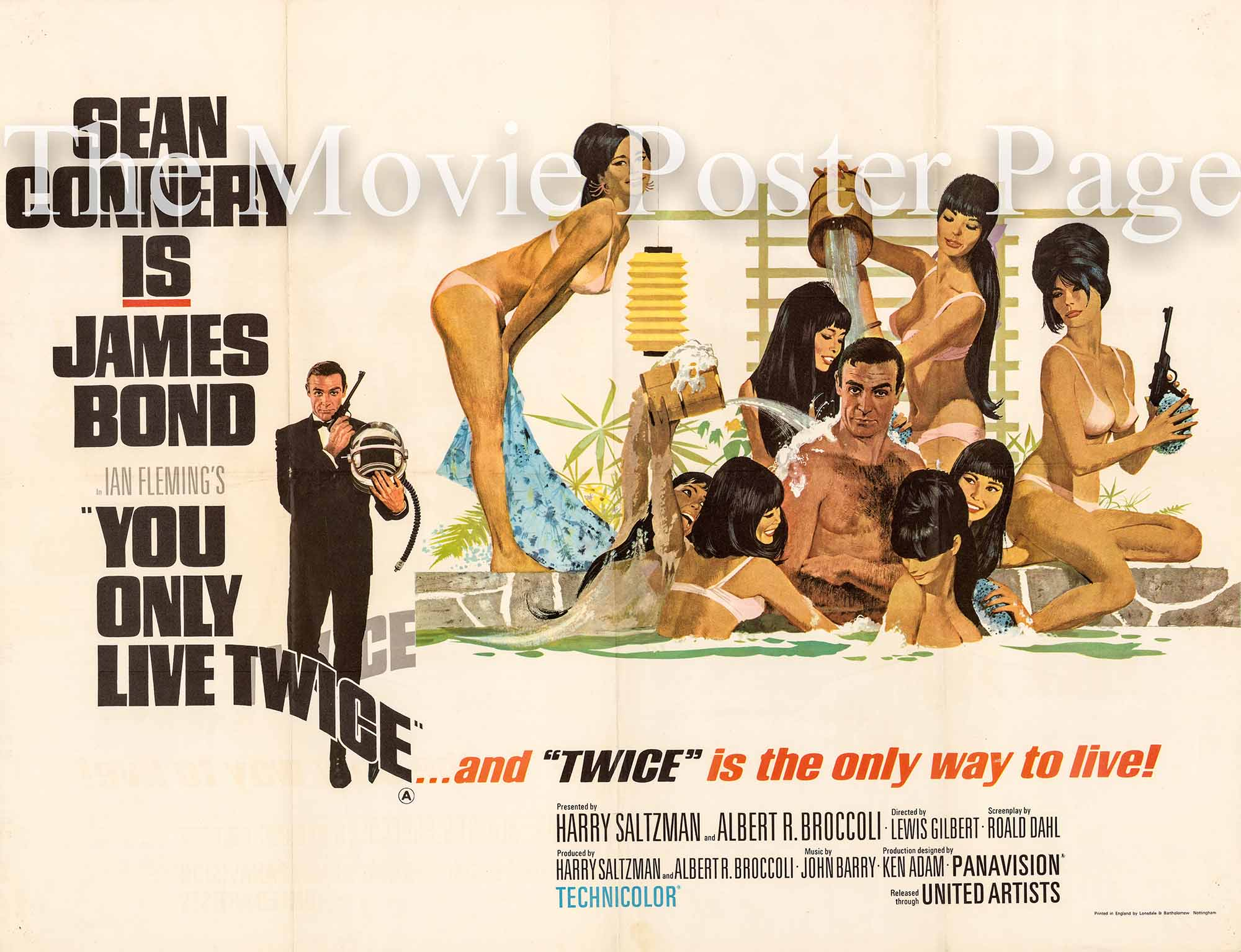 Pictured is an original UK quad poster made to promote the 1967 Lewis Gilbert film You Only Live Twice starring Sean Connery as James Bond.