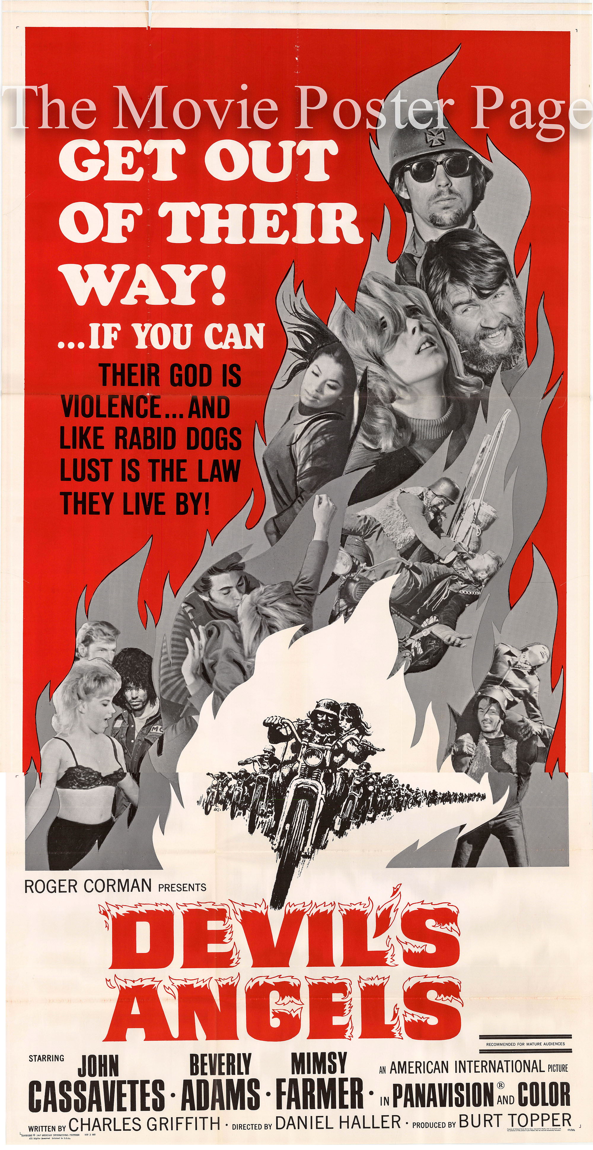 Pictured is a US three-sheet promotional poster for the 1957 Daniel Haller film Devil's Angels starring John Cassavetes as Cody.