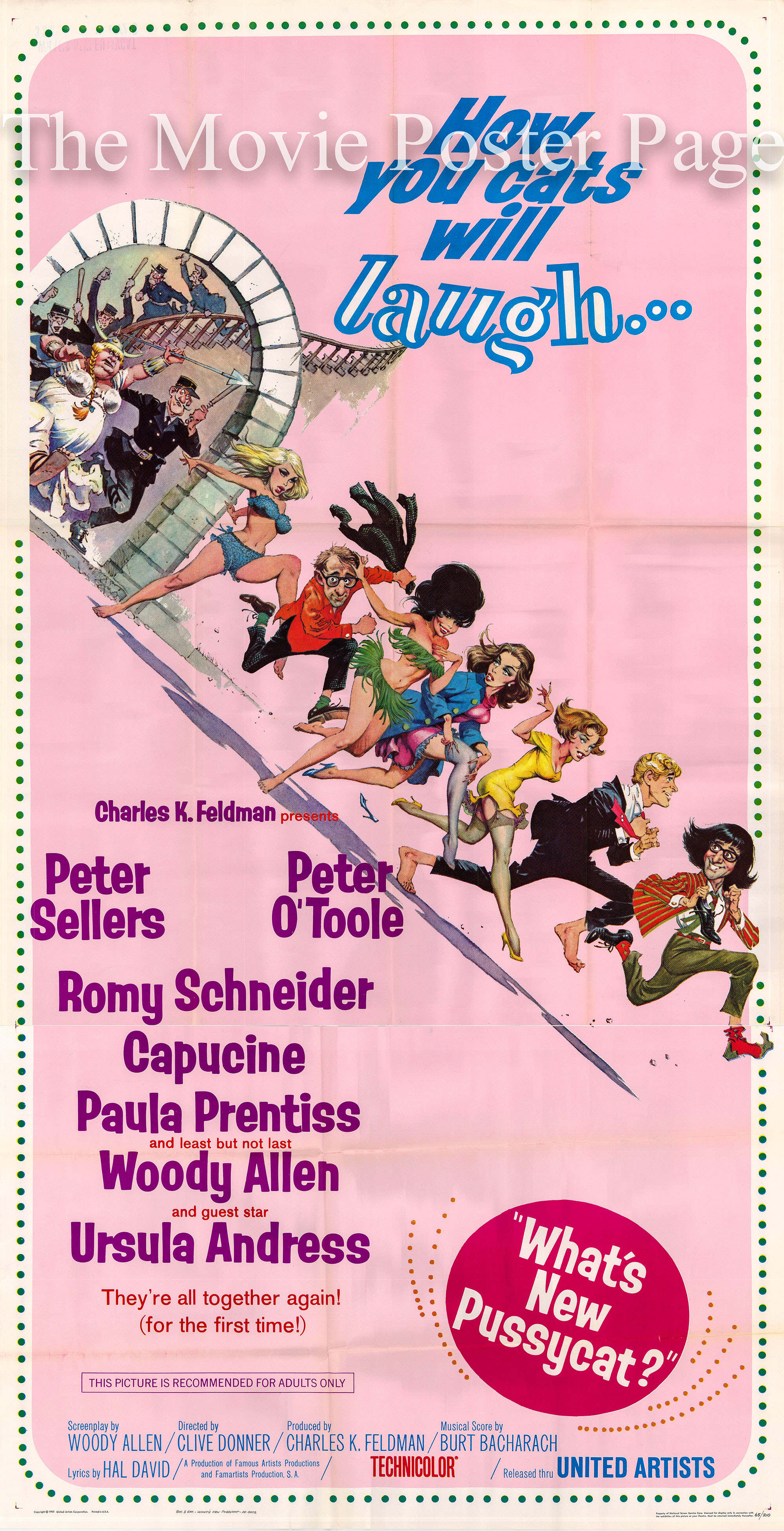 Pictured is a US one-sheet promotional poster for the 1965 Clive Donner and Richard Talmadge film What's New Pussycat? starring Peter Sellers as Dr. Fritz Fassbender.