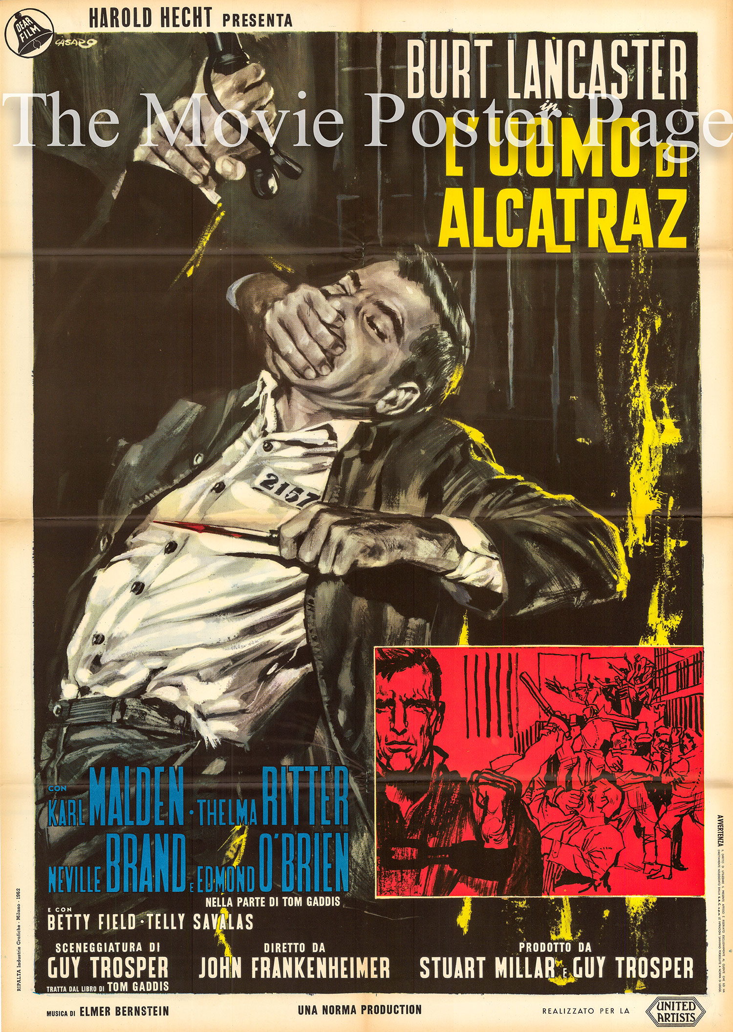 Pictured is an Italian two-sheet poster for the 1962 John Frankenheimer and Charles Crichton film Birdman of Alcatraz, starring Burt Lancaster as Robert Franklin Stroud.