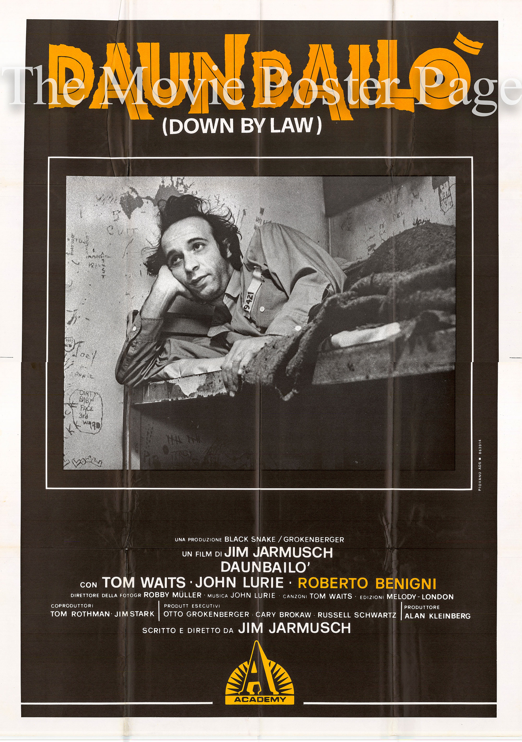 Pictured is an Italian four-sheet promotional poster for the 1986 Jim Jarmusch film Down by Law starring Tom Waits.