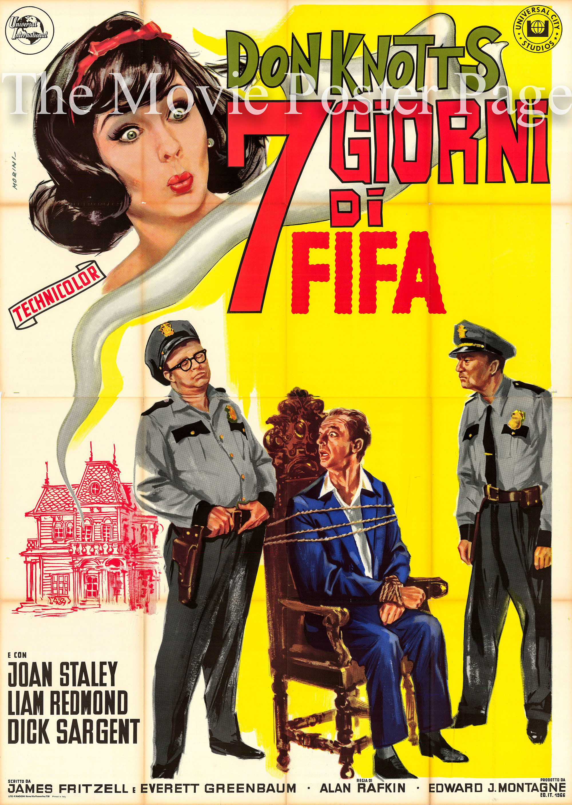 Pictured is an Italian four-sheet promotional poster for the 1966 Alan Rafkin film The Ghost and Mr. Chicken starring Don Knotts.