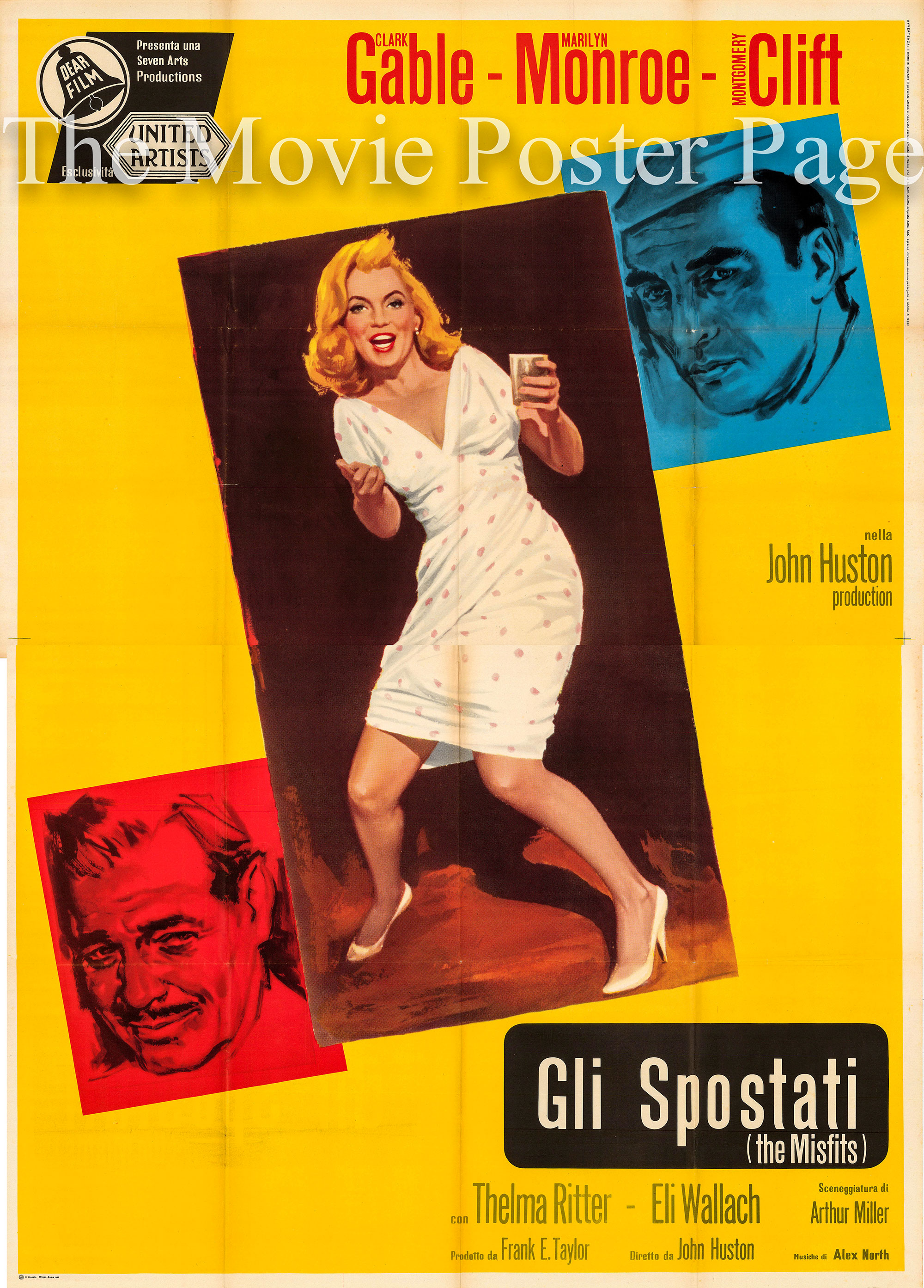 Pictured is an Italian four-sheet promotional poster for the 1961 John Huston film The Misfits starring Marilyn Monroe as Roslyn Taber.