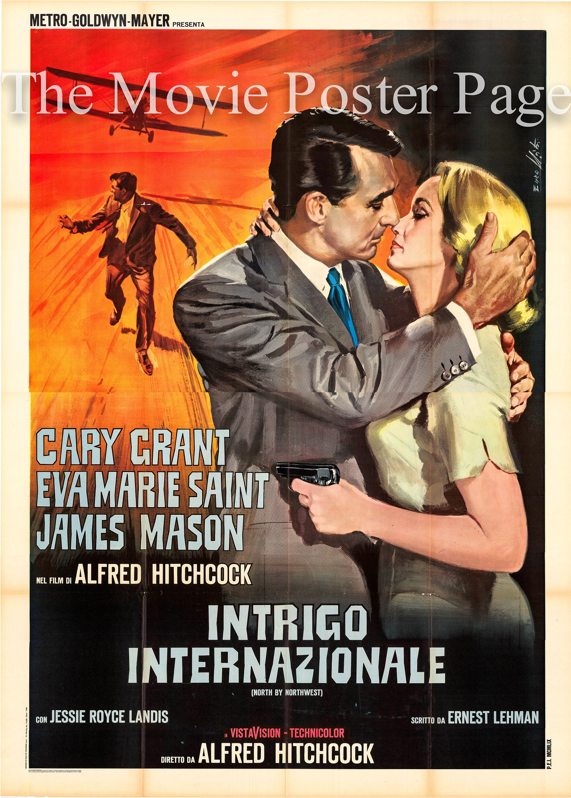 Pictured is an Italian four-sheet poster for a 1976 rerelease of the 1959 Alfred Hitchcock film North by Northwest starring Cary Grant.