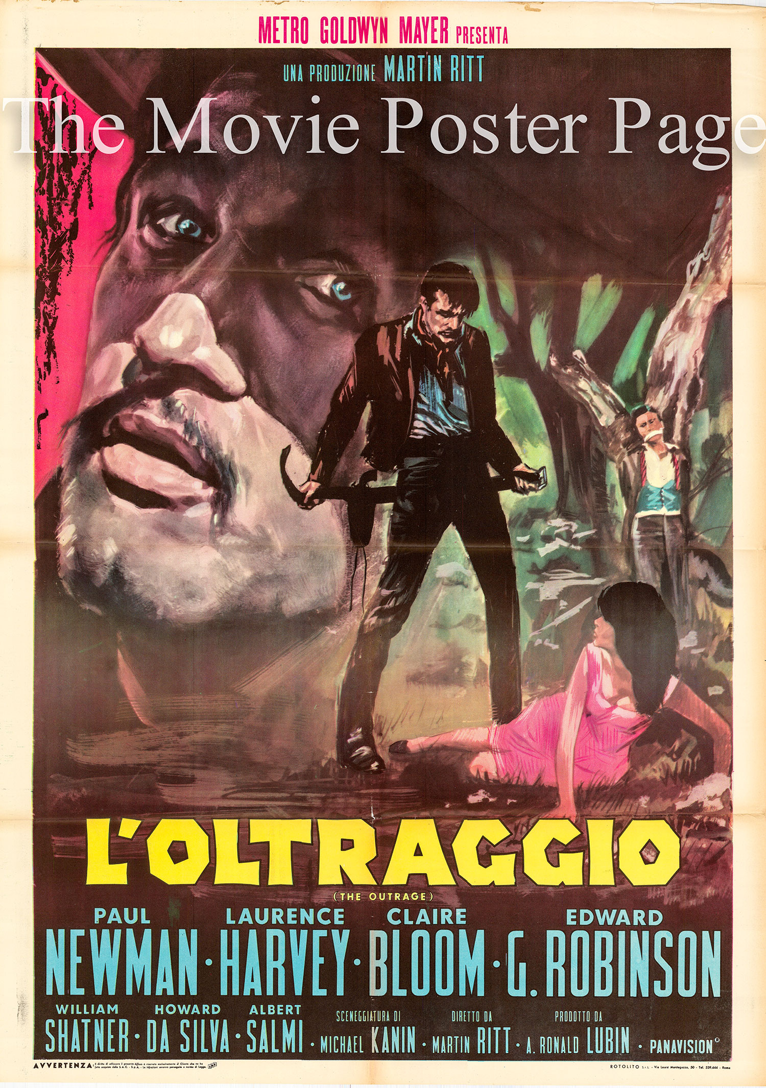Pictured is an Italian two-sheet promotional poster for the 1964 Martin Ritt film The Outrage starring Paul Newman.