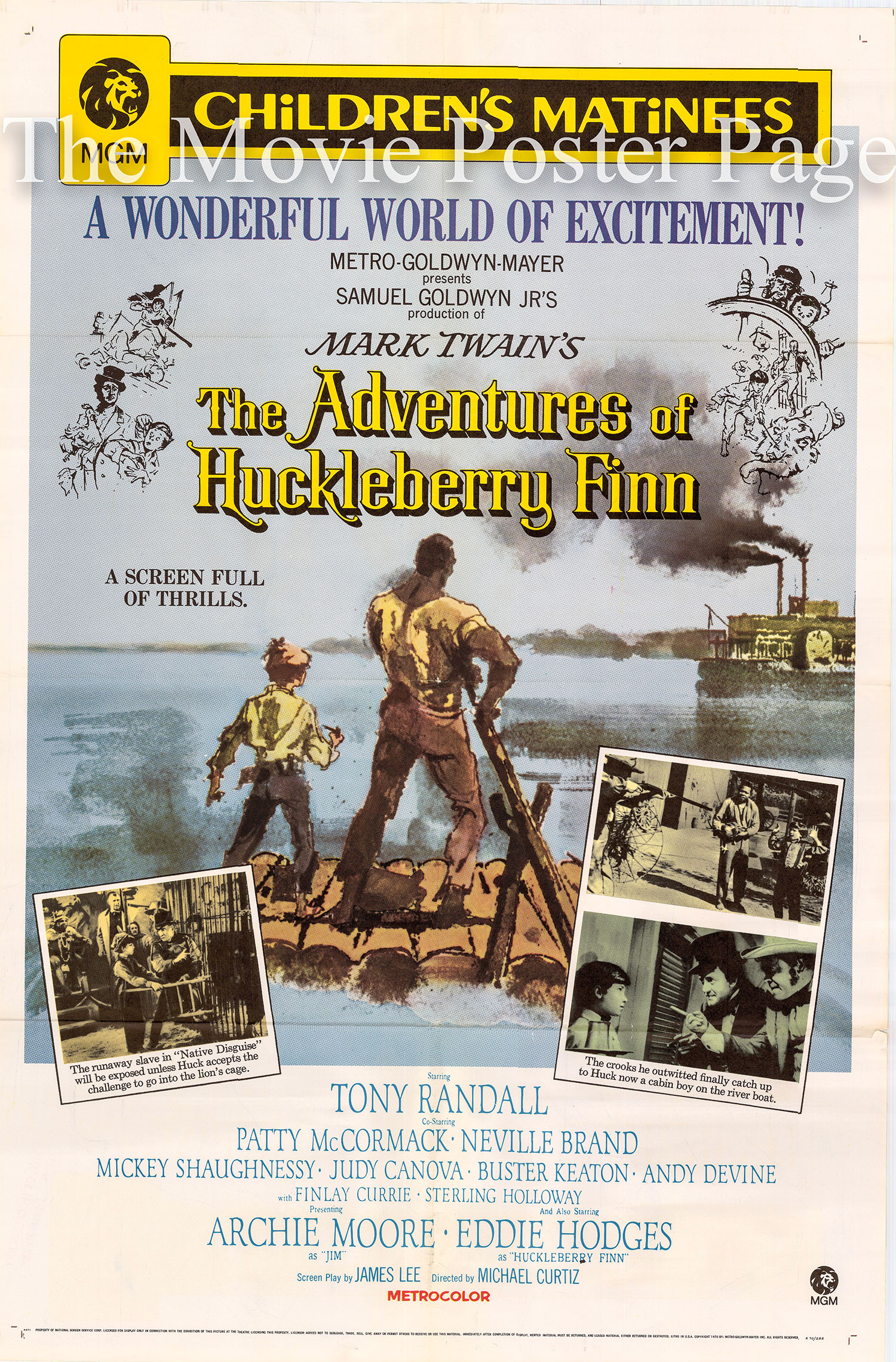 Pictured is a US one-sheet promotional poster for a 1970 rerelease of the 1960 Michael Curtiz film The Adventures of Huckleberry Finn starring Eddie Hodgies as Huckleberry Finn.
