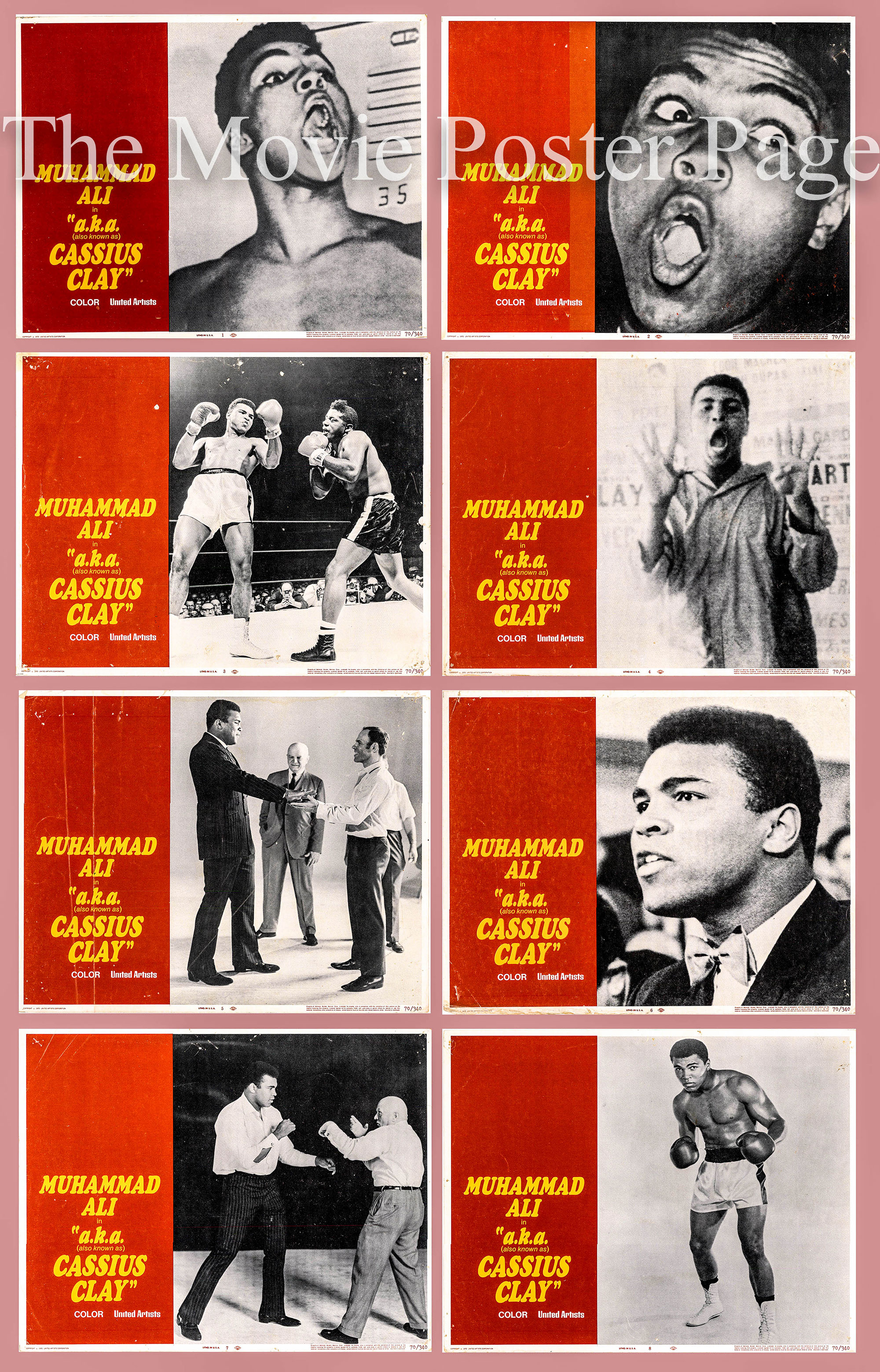 Pictured is a US lobby card set for the 1970 Jim Jacobs film Muhammad Ali: A.K.A. Cassius Clay starring Muhammad Ali.