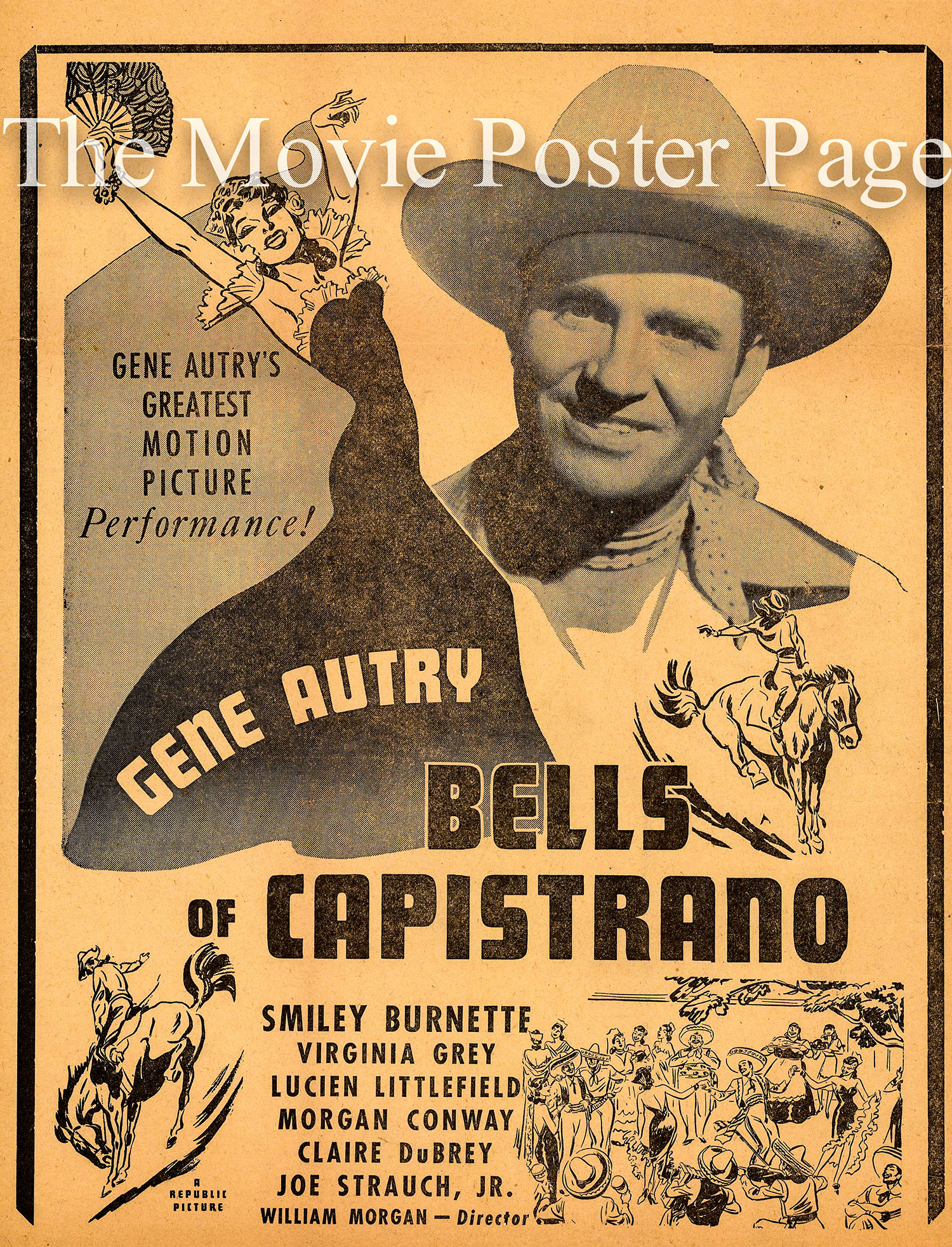 Pictured is a US newsprint herald for the 1942 William Morgan film the Bells of Capistrano starring Gene Autry.