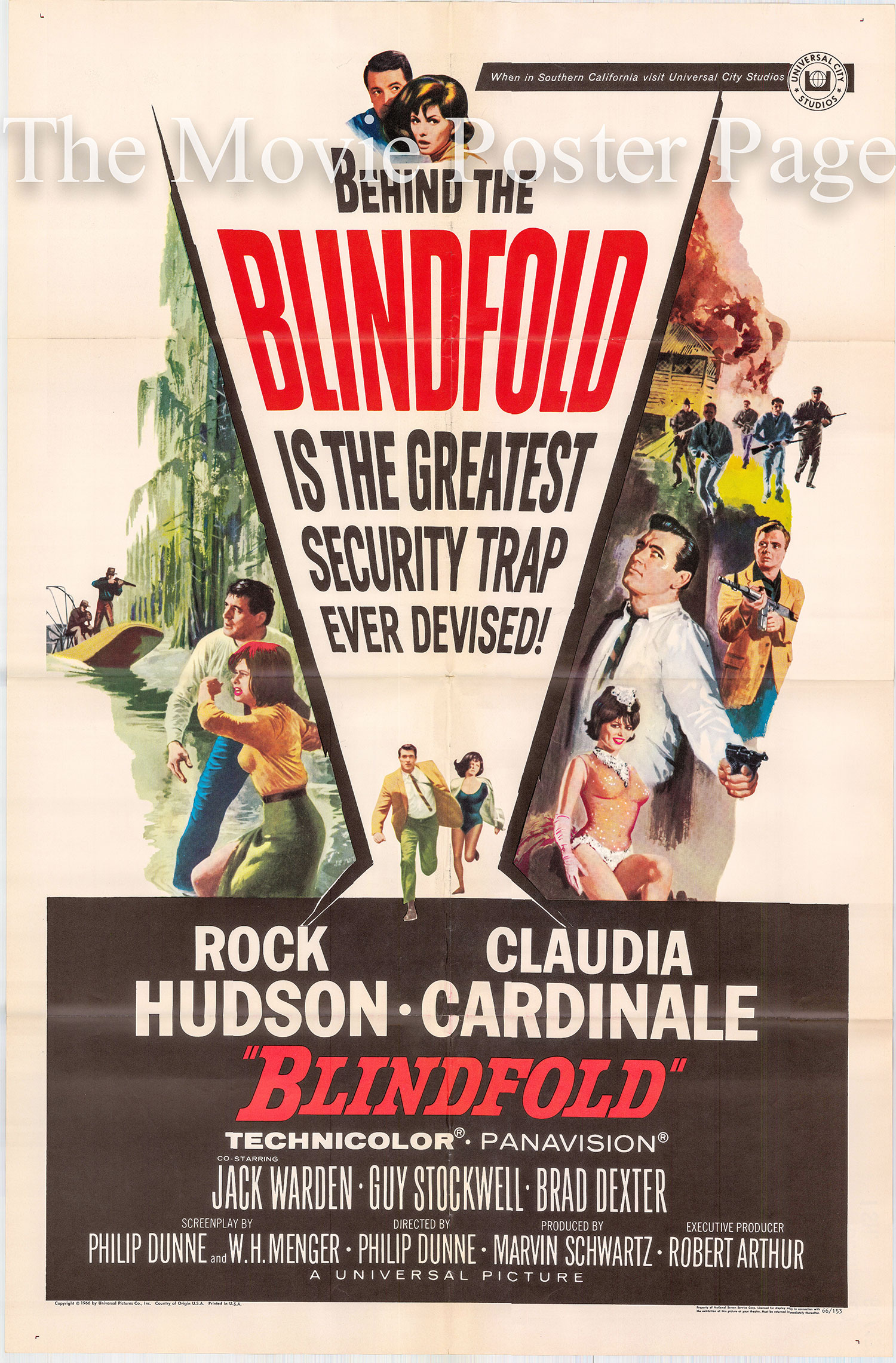 Pictured is a US one-sheet poster for the 1966 Philip Dunne film Blindfold starring Rock Hudson.