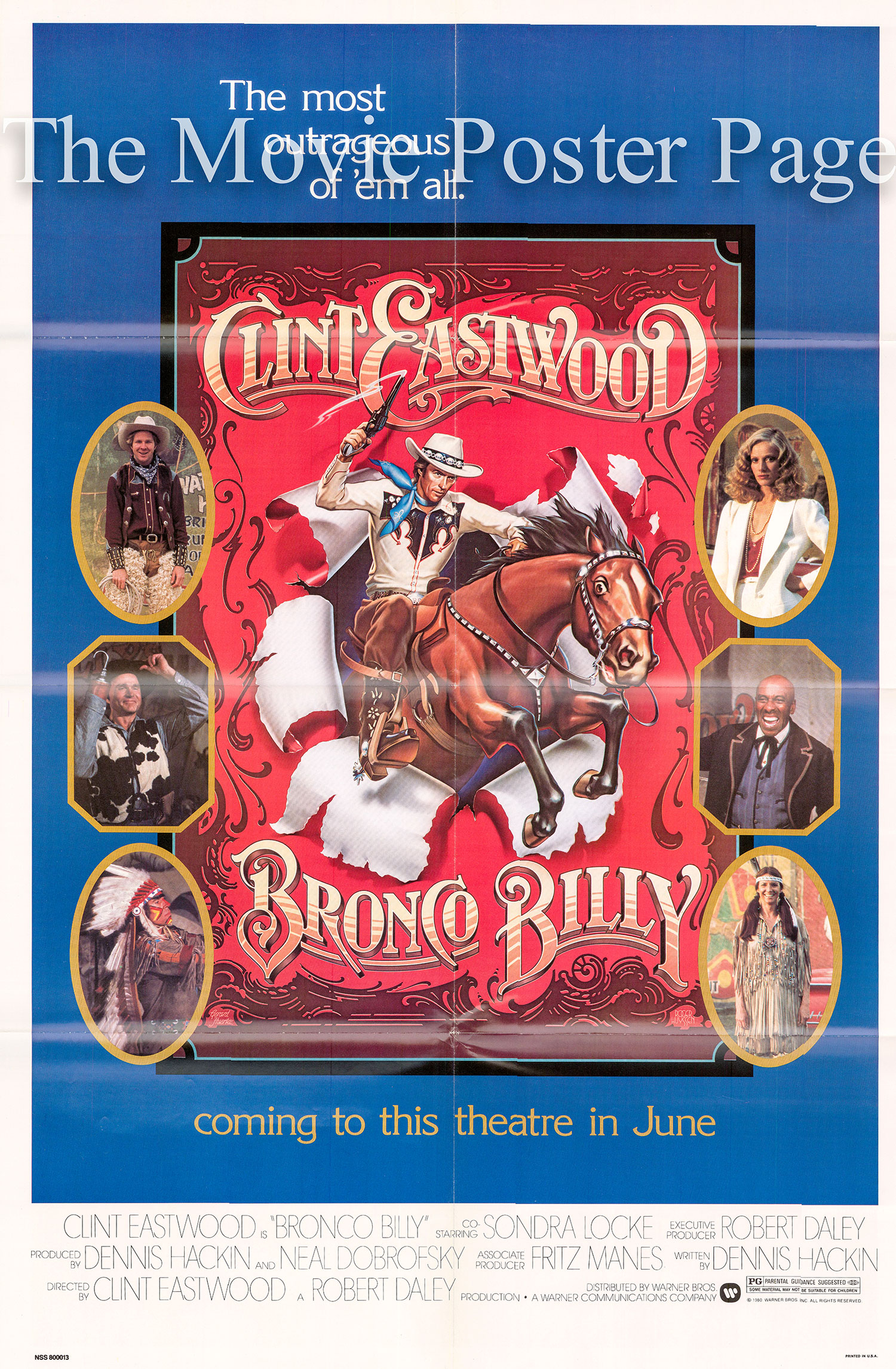 Pictured is a US advance one-sheet poster for the 1980 Clint Eastwood film Bronco Billy starring Clint Eastwood and Bronco Billy.