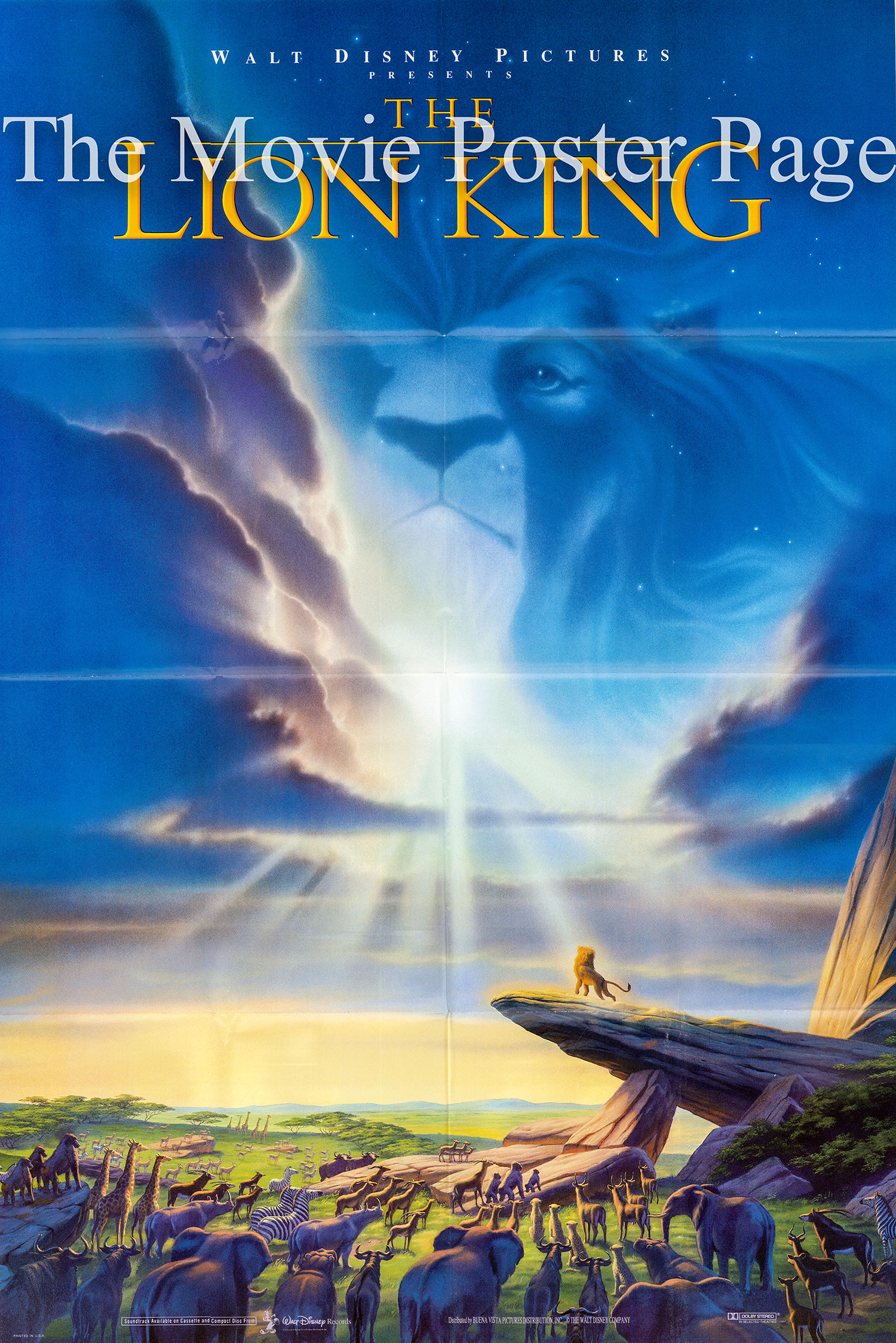 Pictured is a US promotional poster for the 1994 Disney Animation film The Lion King starring Matthew Broderick as the voice of the adult Simba.