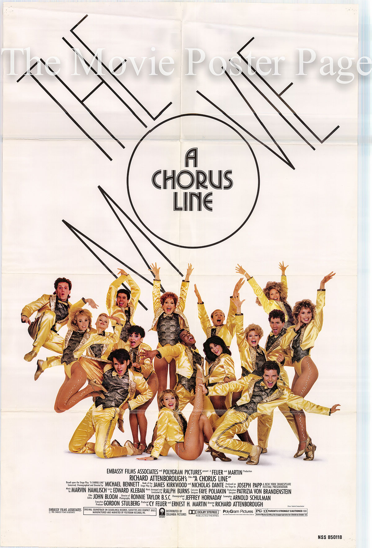 Pictured is a US one-sheet promotional poster for the 1985 Richard Attenborough film Chorus Line starring Michael Douglas as Zach.
