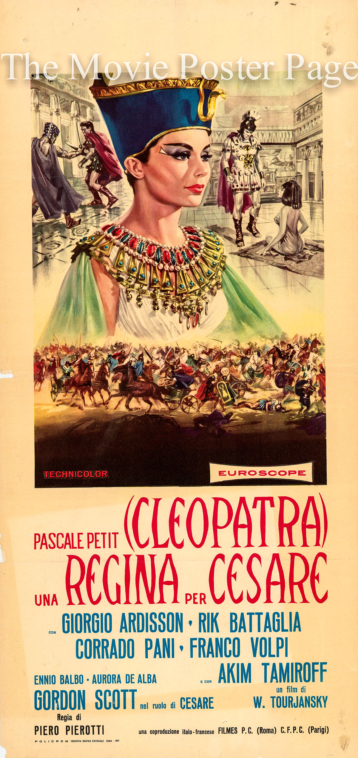 Pictured is an Italian locandina poster for the 1962 Piero Pierotte and Viktor Tourjansky film A Queen for Caesar, starring Pascale Petit as Cleopatra.