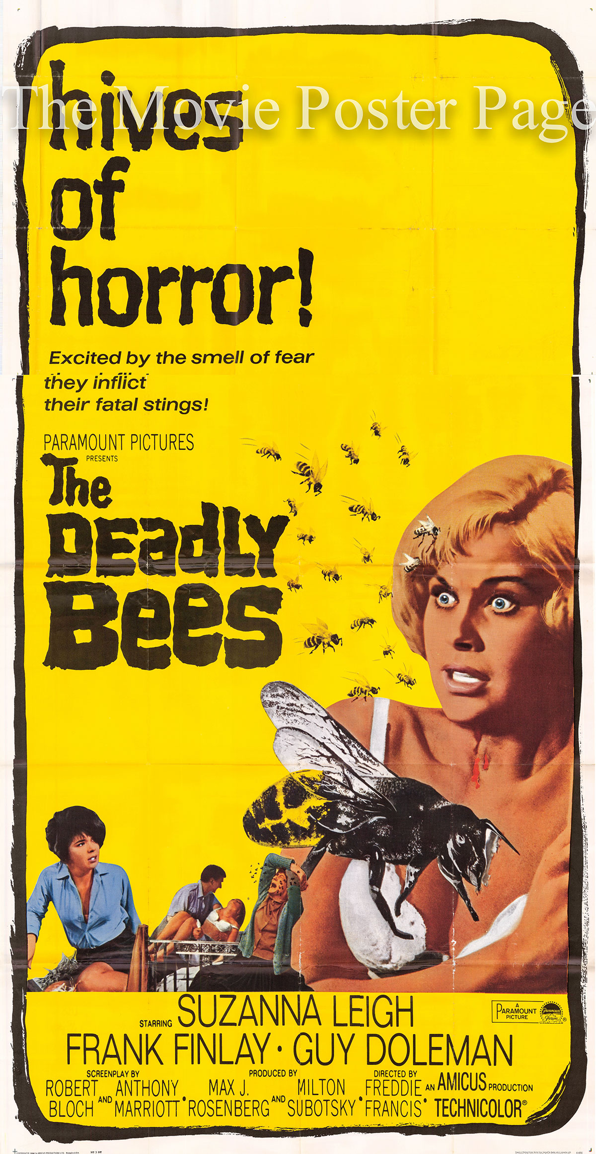 Pictured is a US three-sheet promotional poster for the 1967 Freddie Francis film The Deadly Bees starring Suzanna Leigh as Vicki Robbins.
