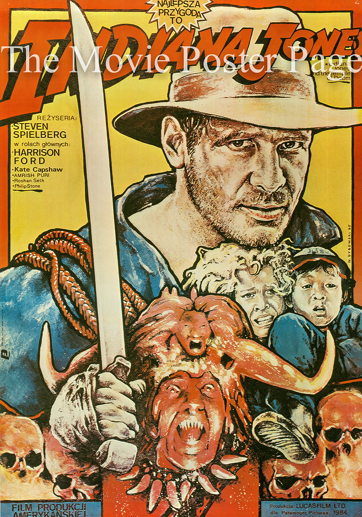 Pictured is an Polish promotional poster for a 1985 Polish rerelease of the 1984 Steven Spielberg film Indiana Jones and the Temple of Doom starring Harrison Ford.