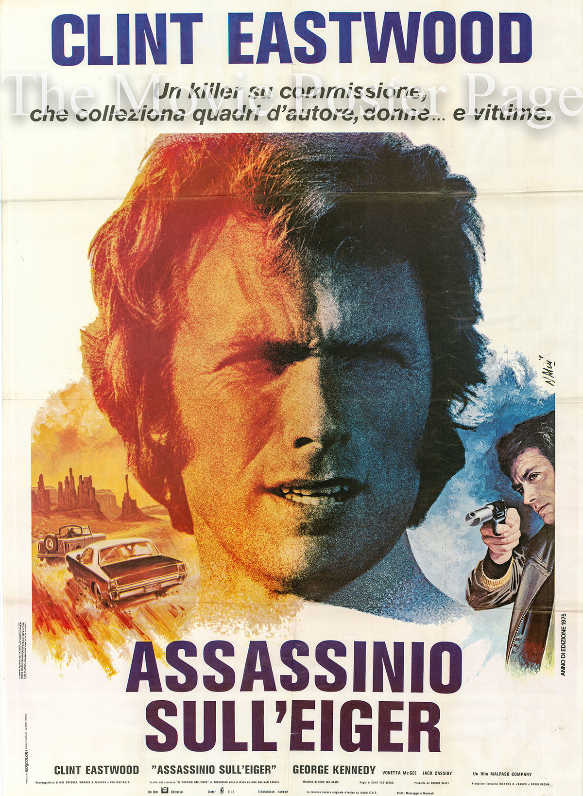 Pictured is an Italian two-sheet promotional poster designed by Jean Mascii for the 1975 Clint Eastwood film The Eiger Sanction starring Clint Eastwood.