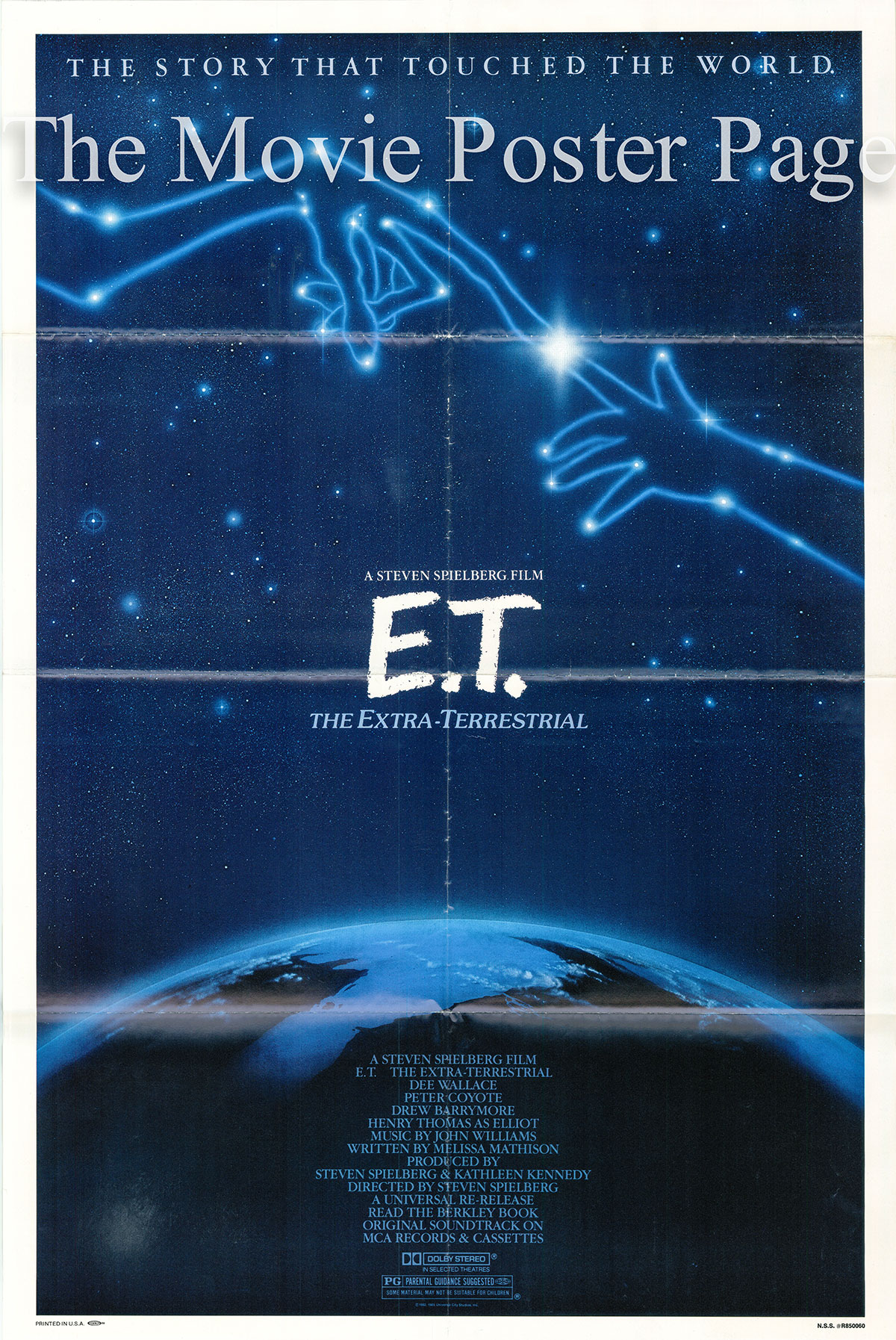 Pictured is a US one-sheet promotional poster for a 1985 rerelease of the 1982 Steven Spielberg film E.T. starring Drew Barrymore.