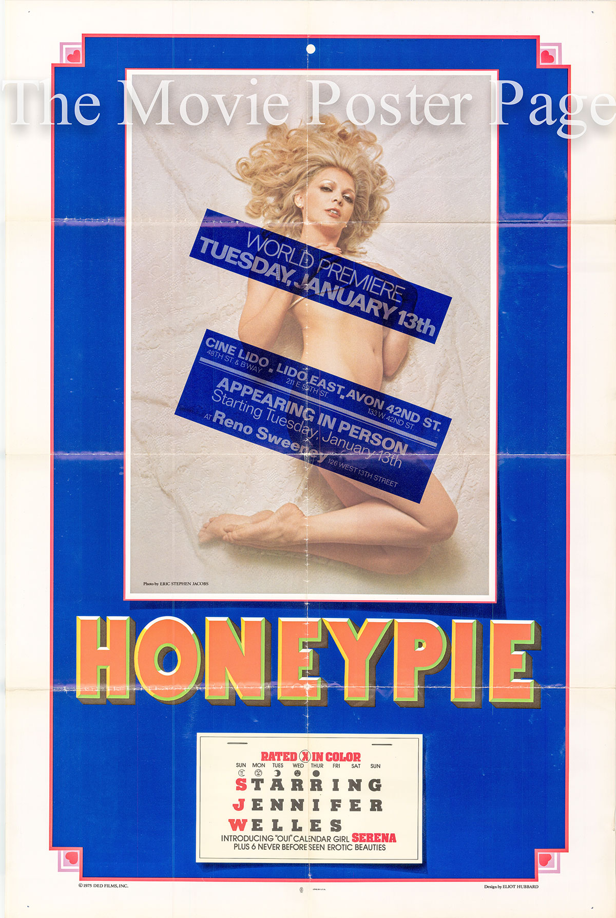 Pictured is a US advance one-sheet promotional poster for the 1976 Hans Johnson film Honeypie starring Jennifer Welles.