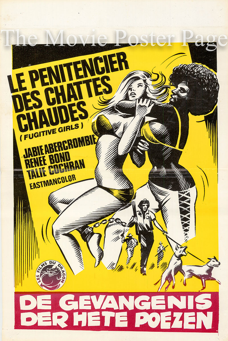 Pictured is a Belgian promotional poster for the 1974 Stephen C. Apostolof film Fugitive Girls starring Jabie Abercrombe as Paula.