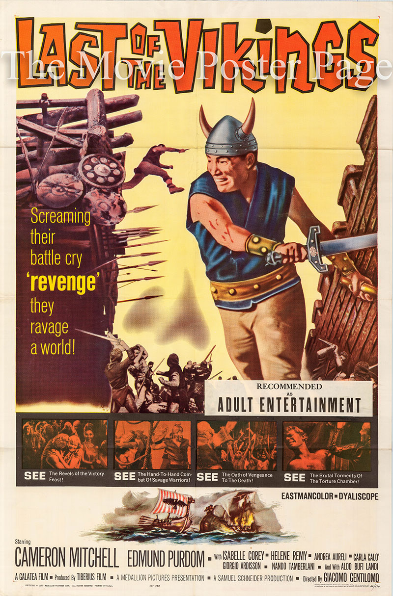 Pictured is a US one-sheet poster for the 1961 Giacomo Gentilomo film The Last of the Vikings starring Cameron Mitchell.