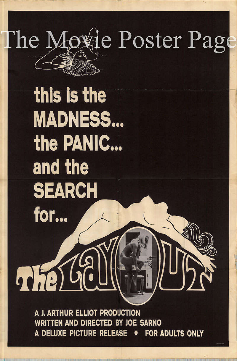 Pictured is a US one-sheet promotional poster for the 1969 Joe Sarno film The Layout starring Suzan Thomas as Pam.