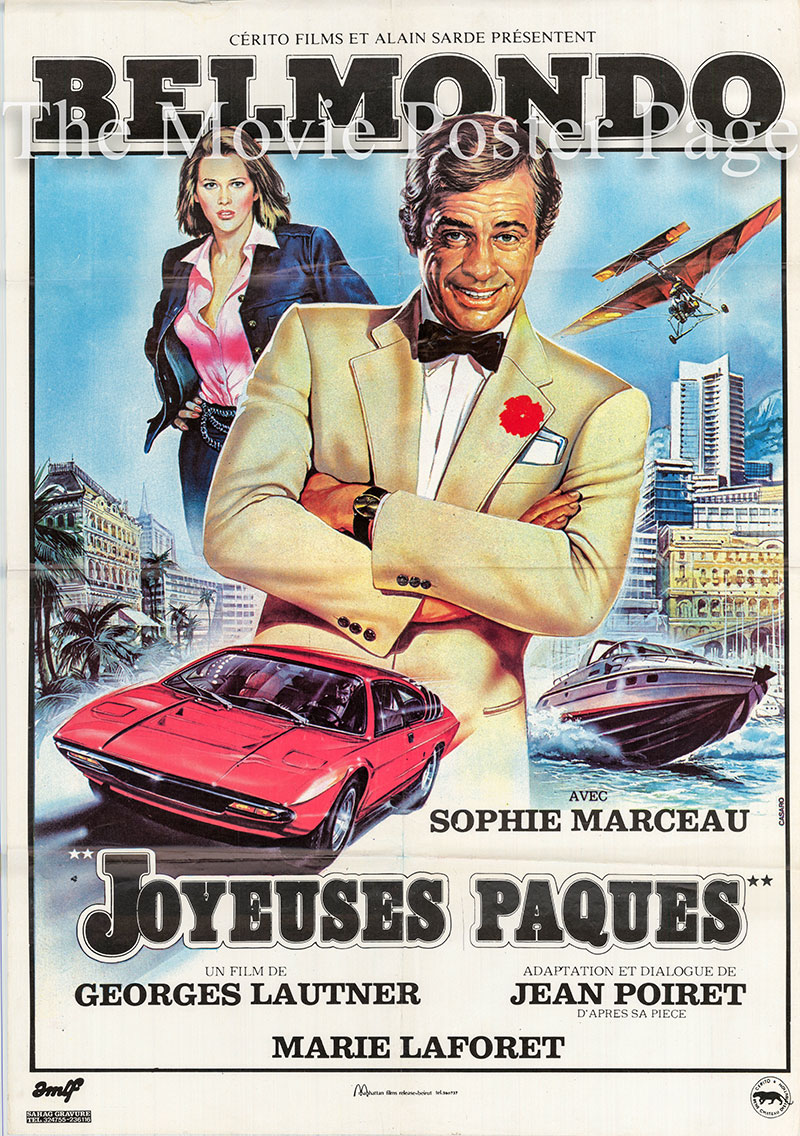 Pictured is a Lebanese one-sheet promotional poster for the 1984 Georges Lautner film Happy Easter starring Jean-Paul Belmondo.