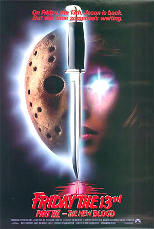 Pictured is a US promotional poster for the 1988 John Carl Buechler film Friday the 13th Part VII: The New Blood, starring Kane Hodder as Jason Voorhees